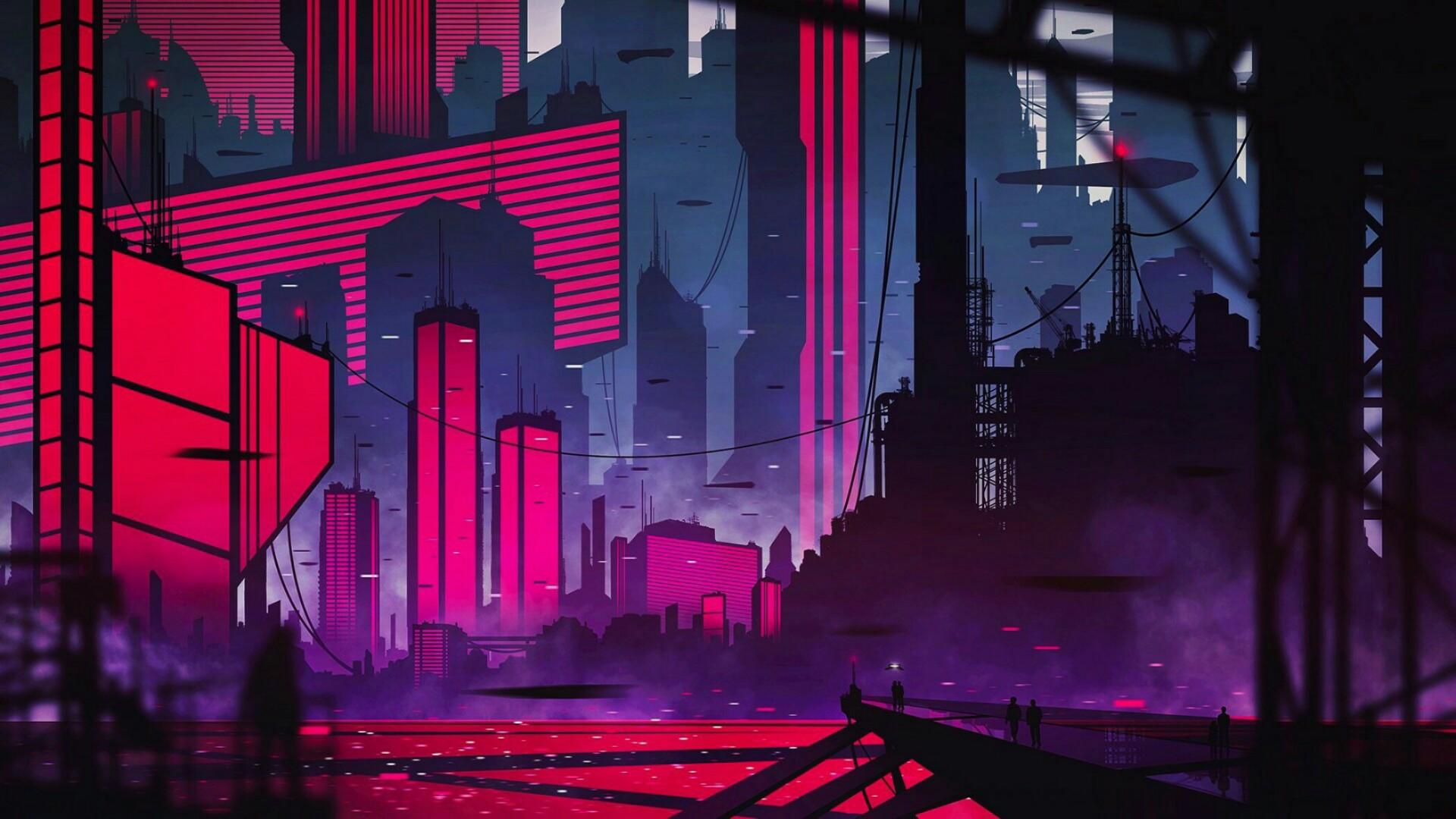 Neon city wallpaper - backiee