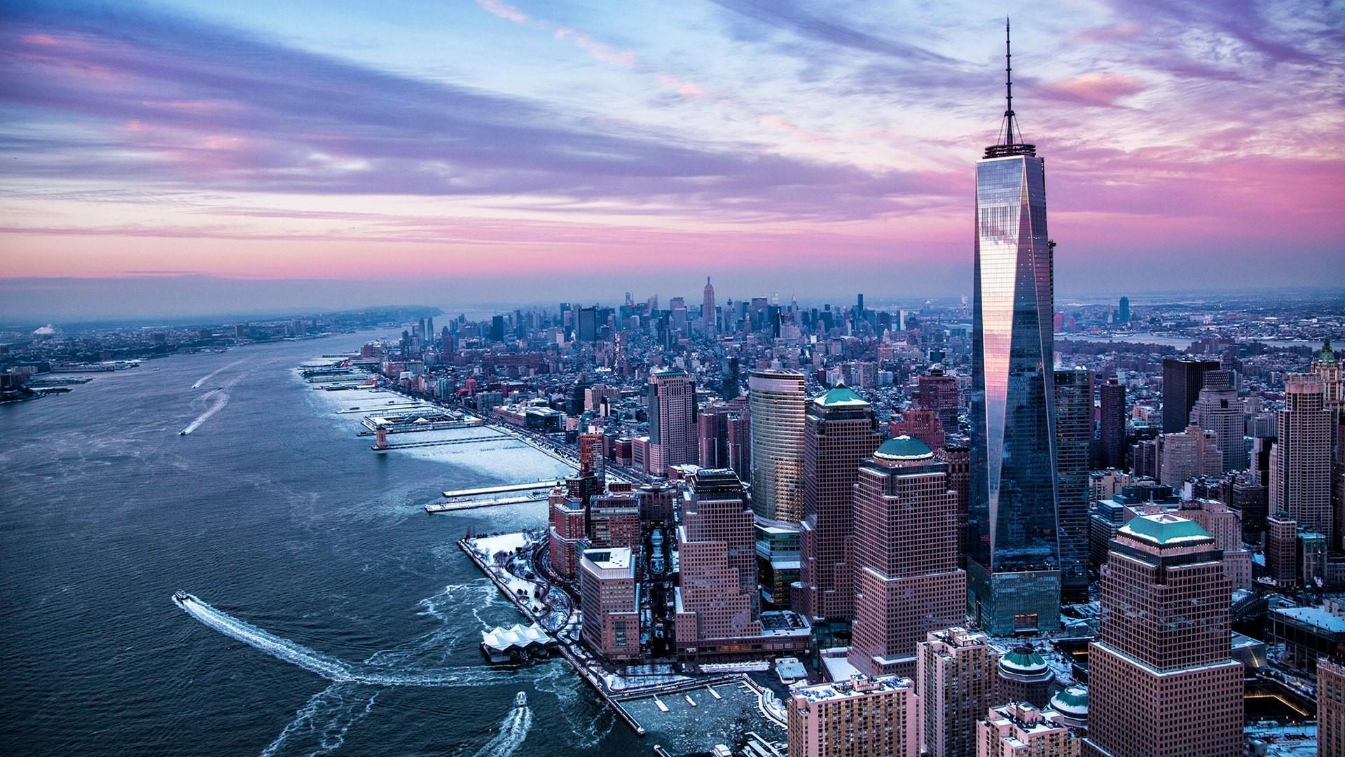 New York aerial view wallpaper