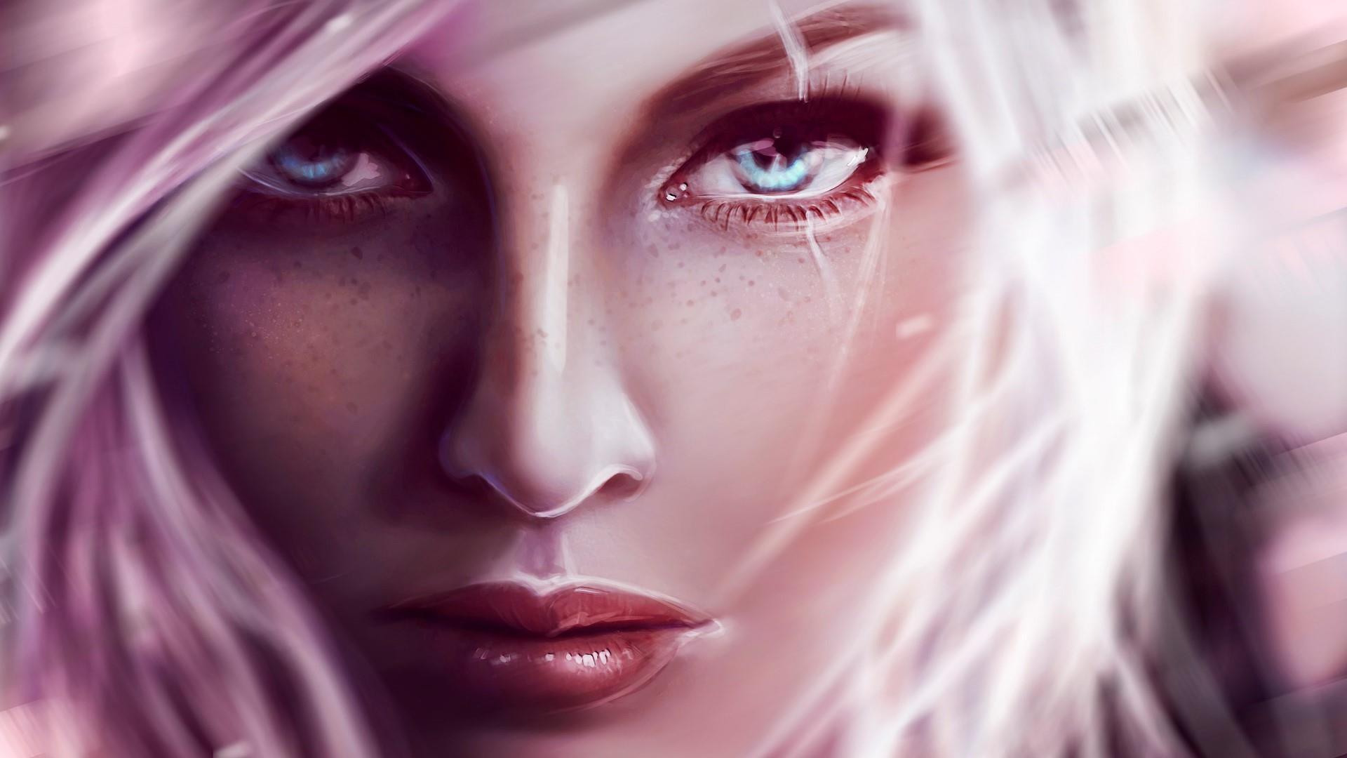 Artistic blonde girl face wallpaper