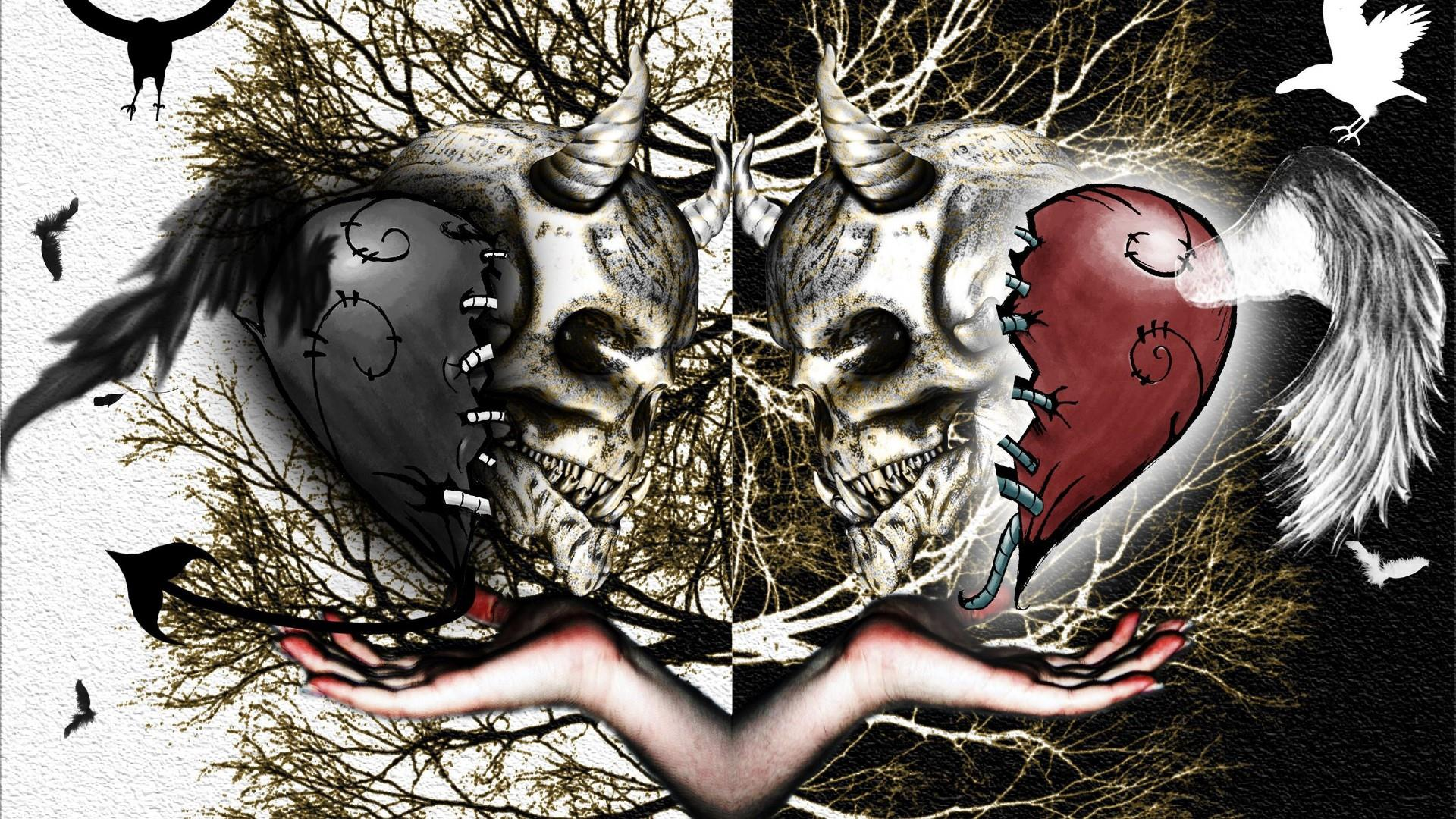 Skull love wallpaper