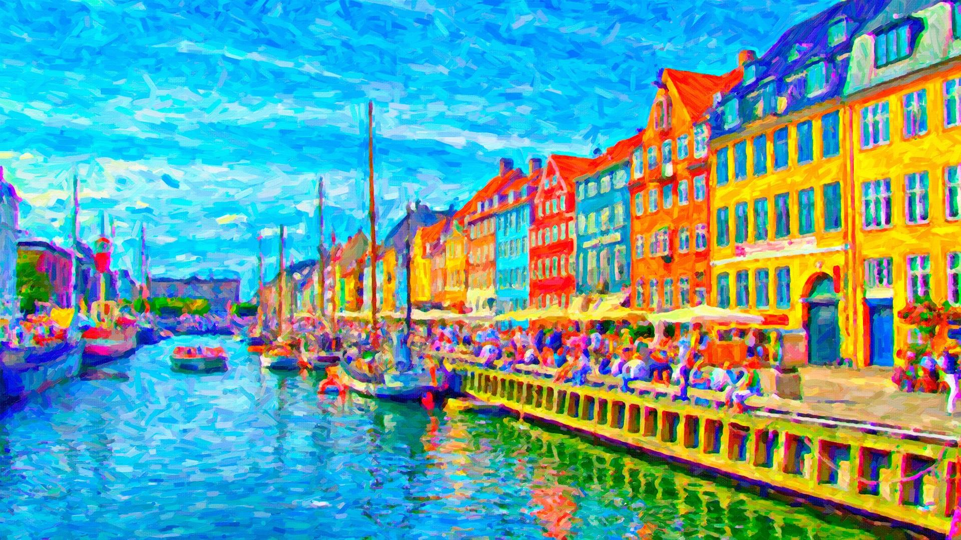 Canal painting nyhavn copenhagen denmark hd wallpaper backiee free ultra hd wallpaper - Copenhagen wallpaper ...