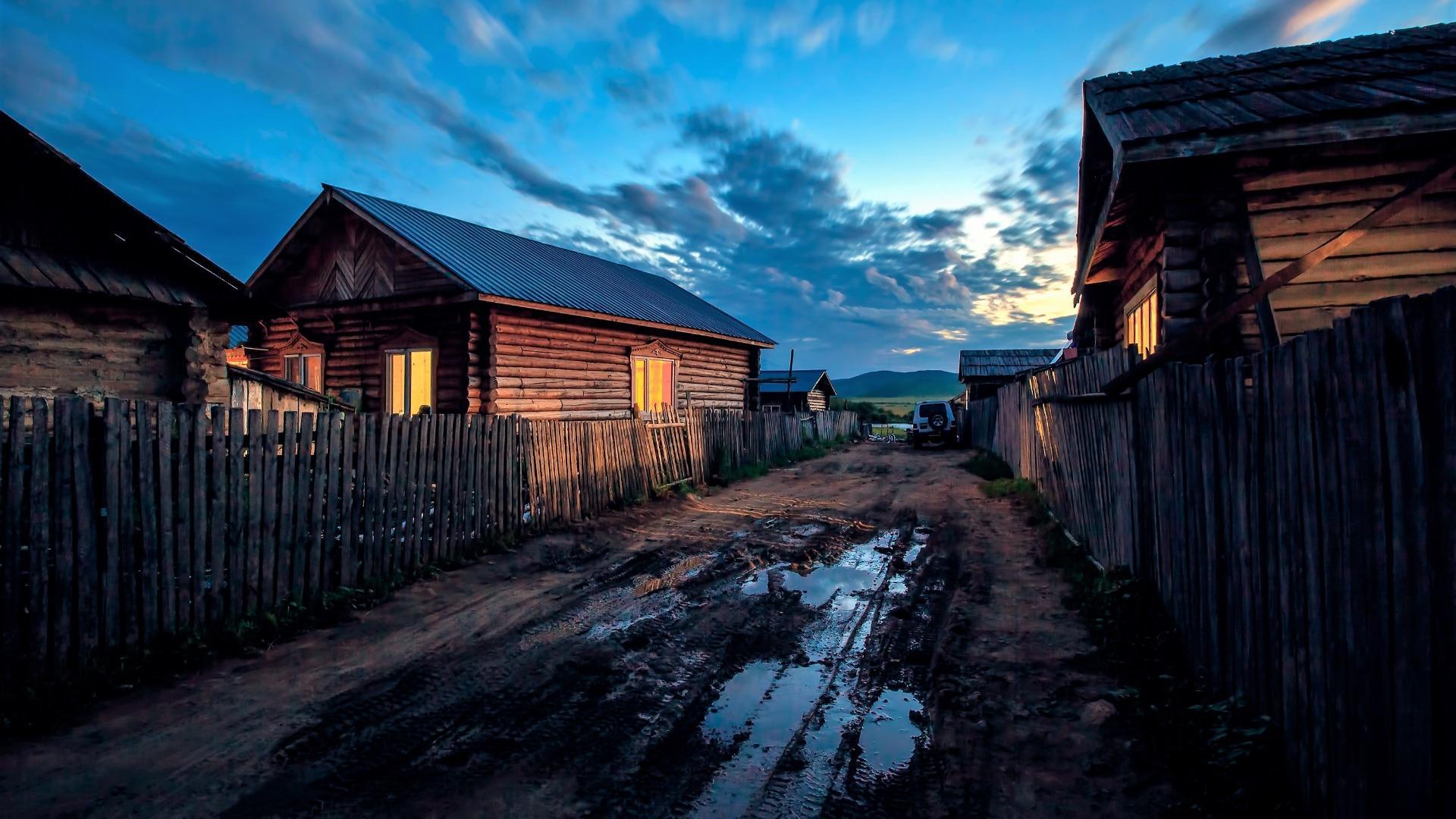 Rural evening wallpaper