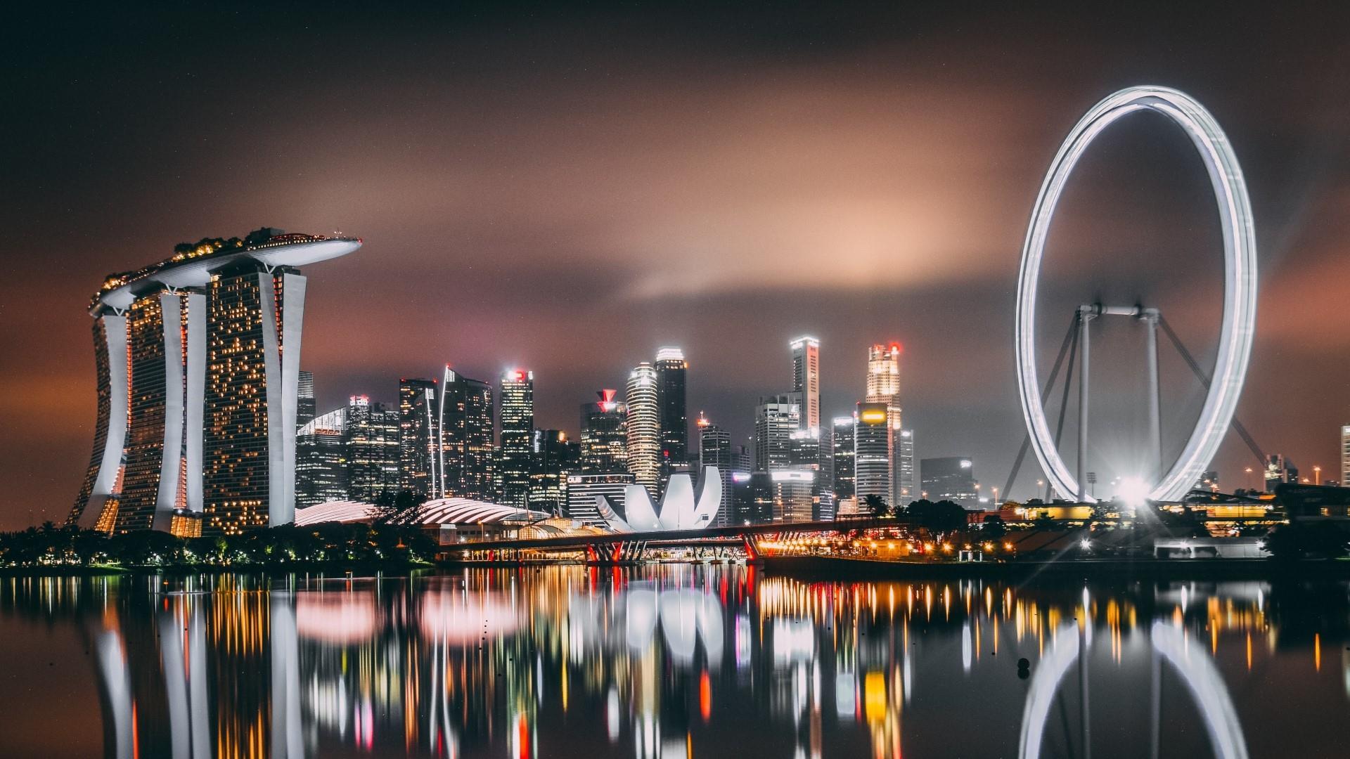 Singapore at night wallpaper