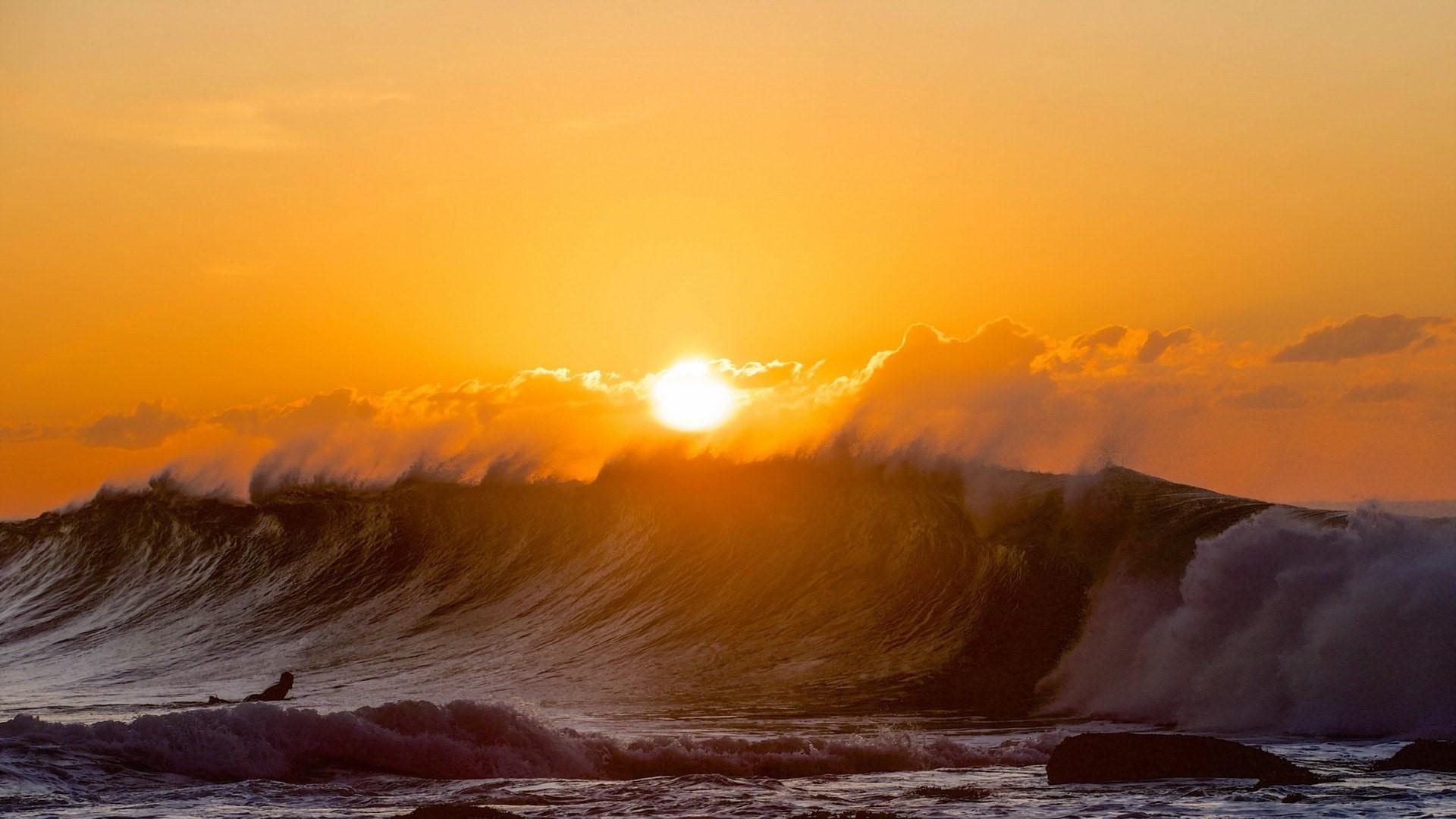 Surfer in the sunset wallpaper