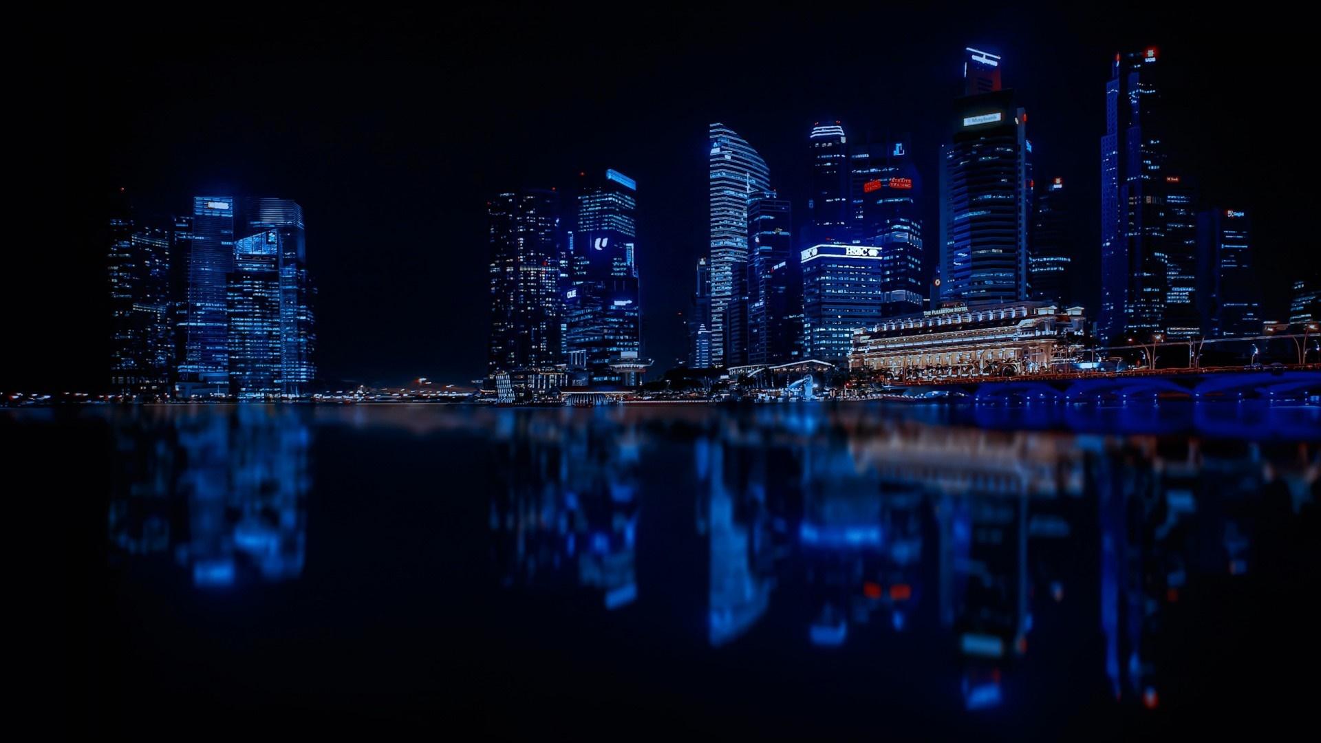 Illuminated Singapore reflection wallpaper