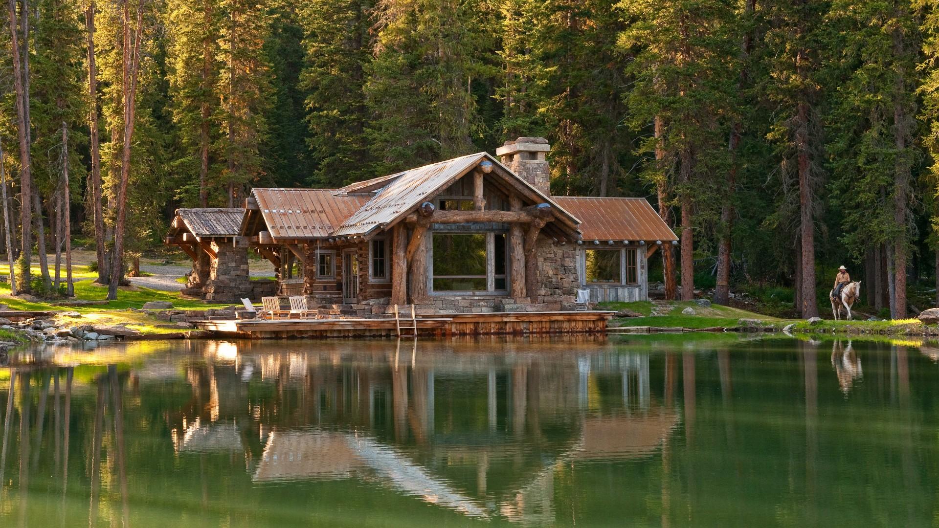 Rustic log cabin wallpaper