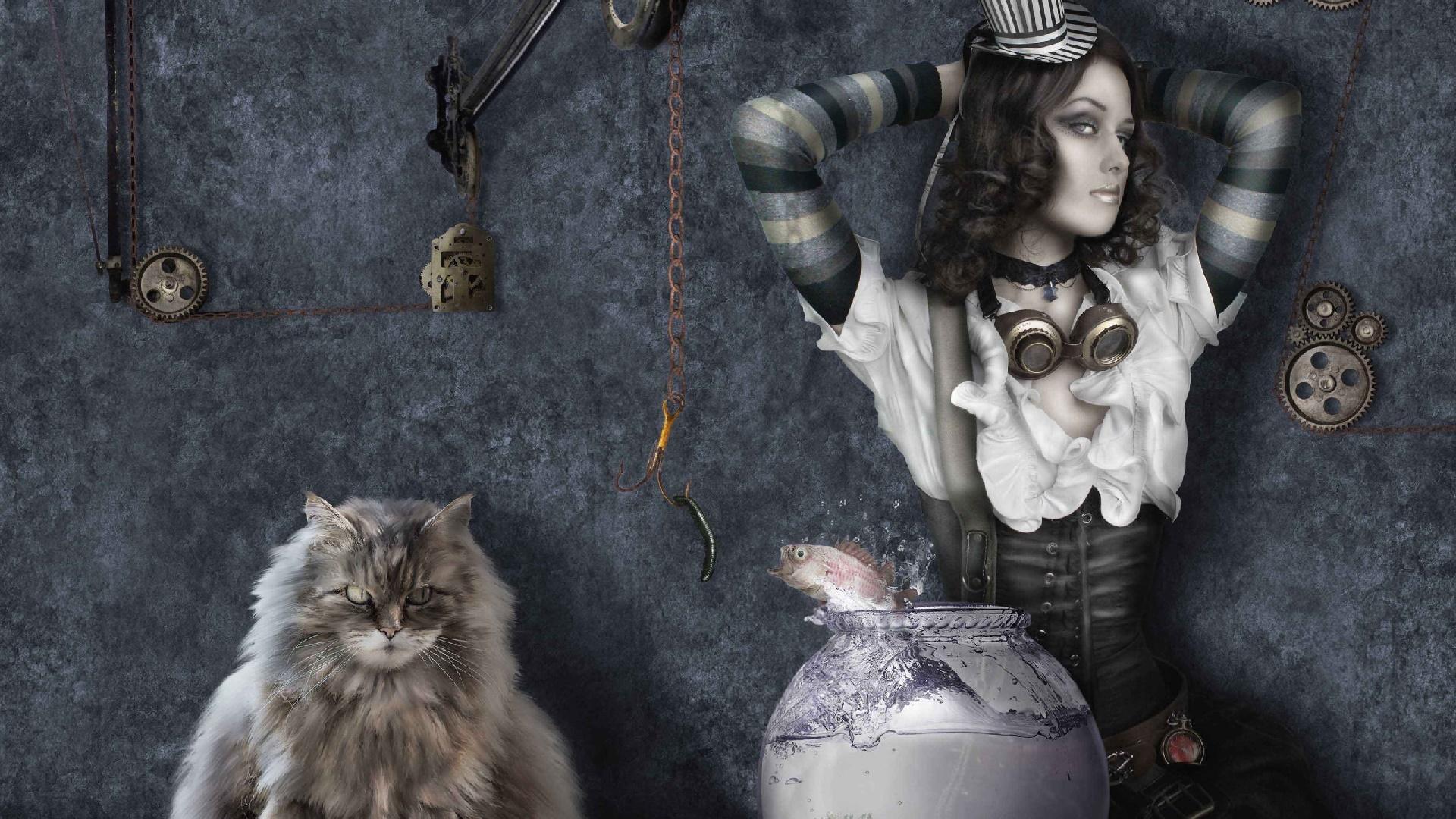 Steampunk girl wallpaper
