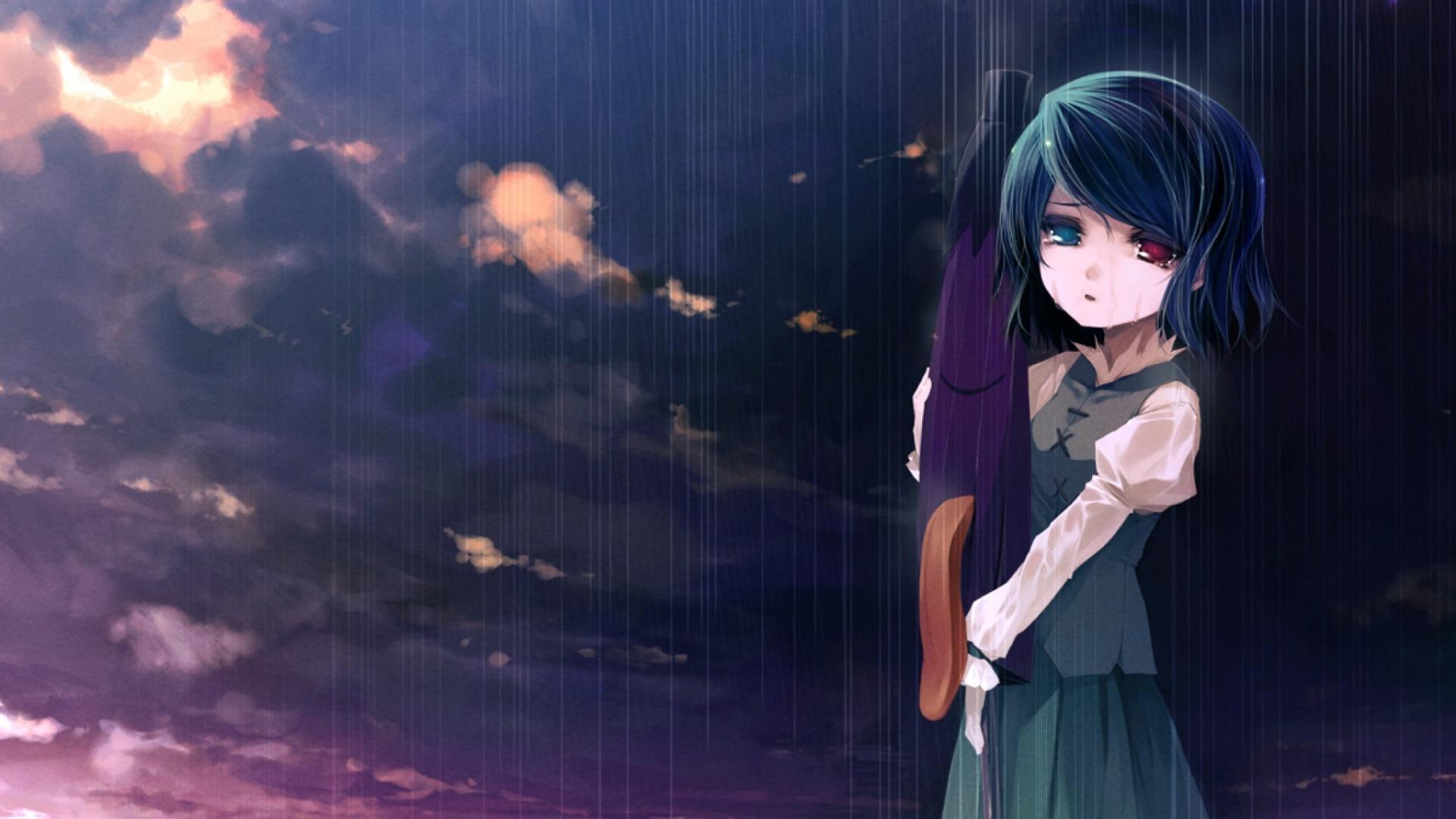 Anime girl in rain wallpaper