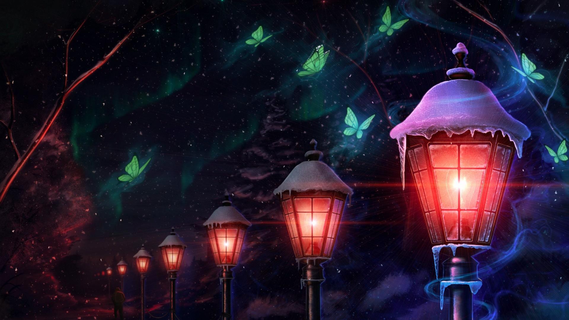 Lights at night wallpaper
