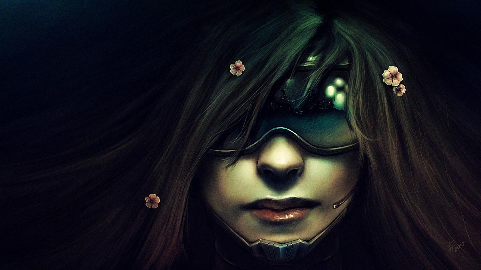 Futuristic cyberpunk asian girl wallpaper