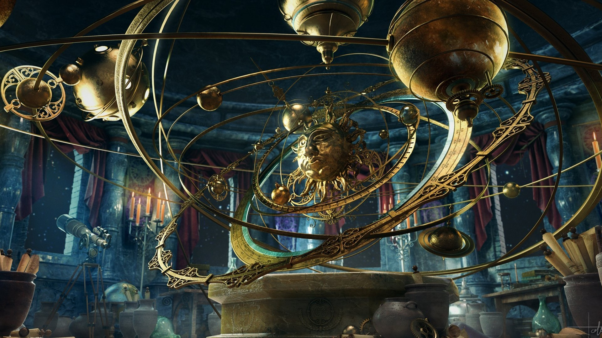 Steampunk planetarium wallpaper