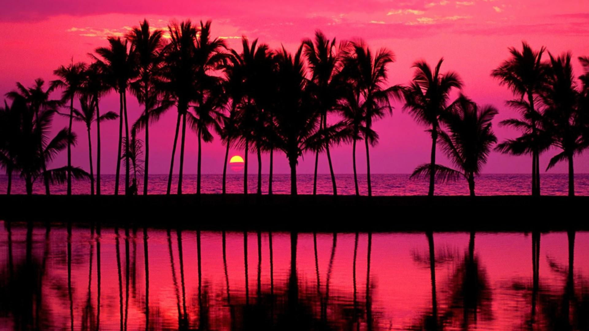 Hawaiian pink sunset over the beach wallpaper