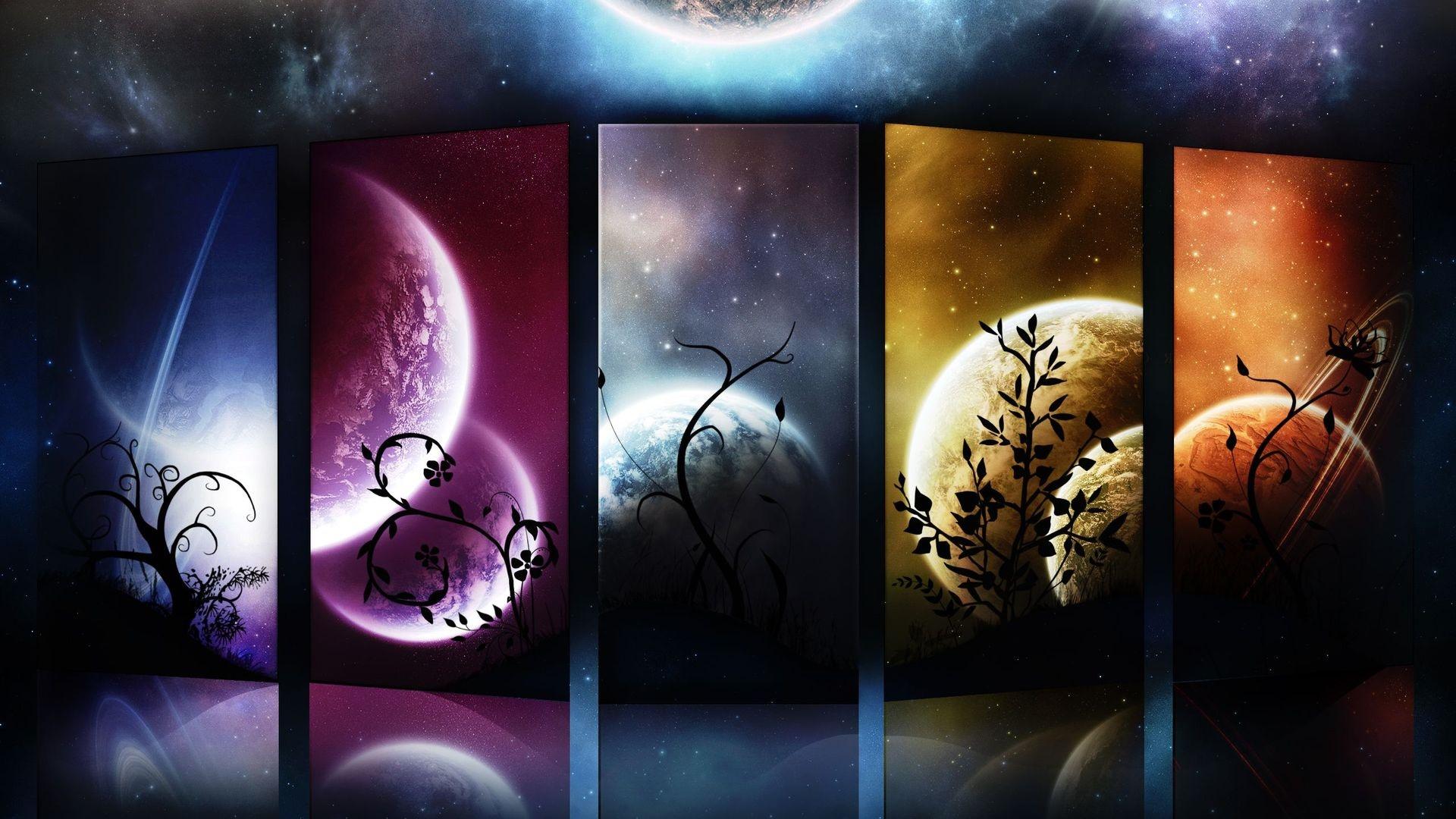 Slice of planets wallpaper