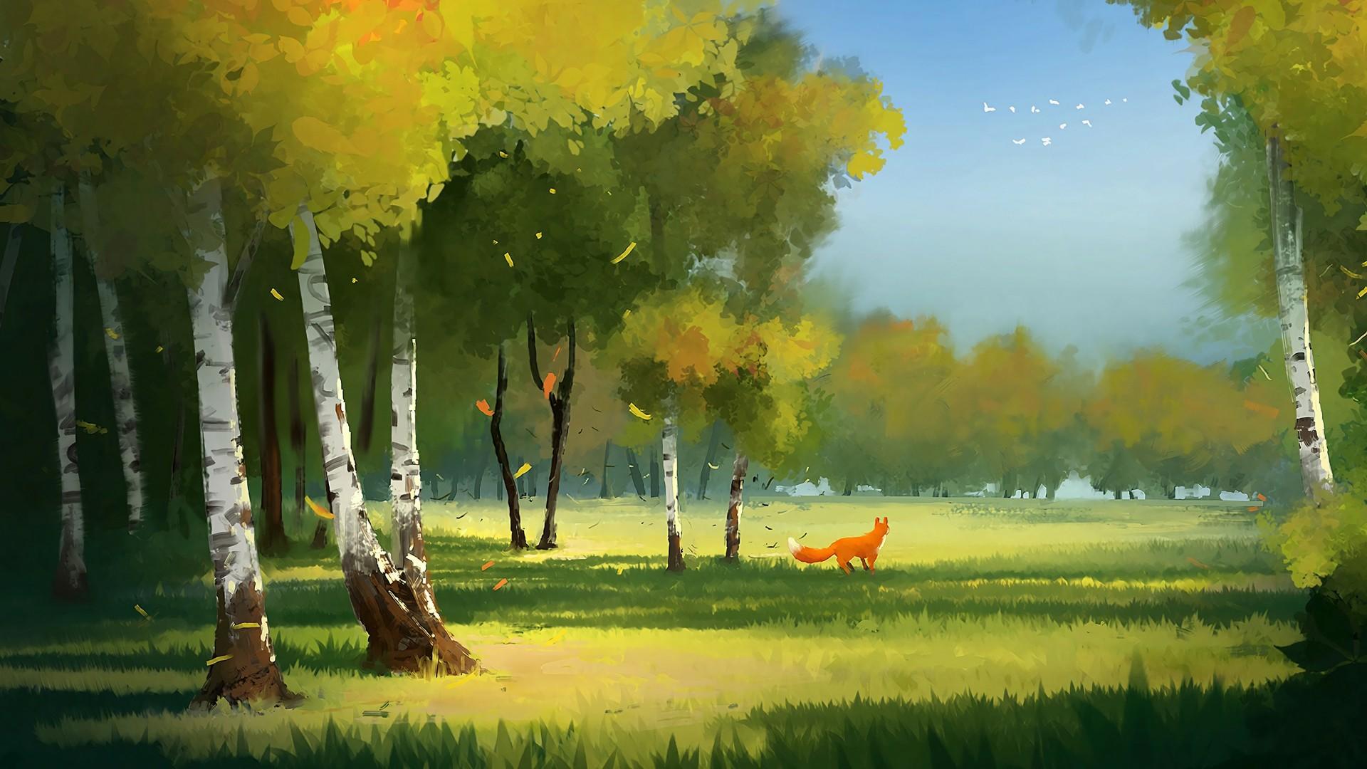 Fox in the meadow wallpaper
