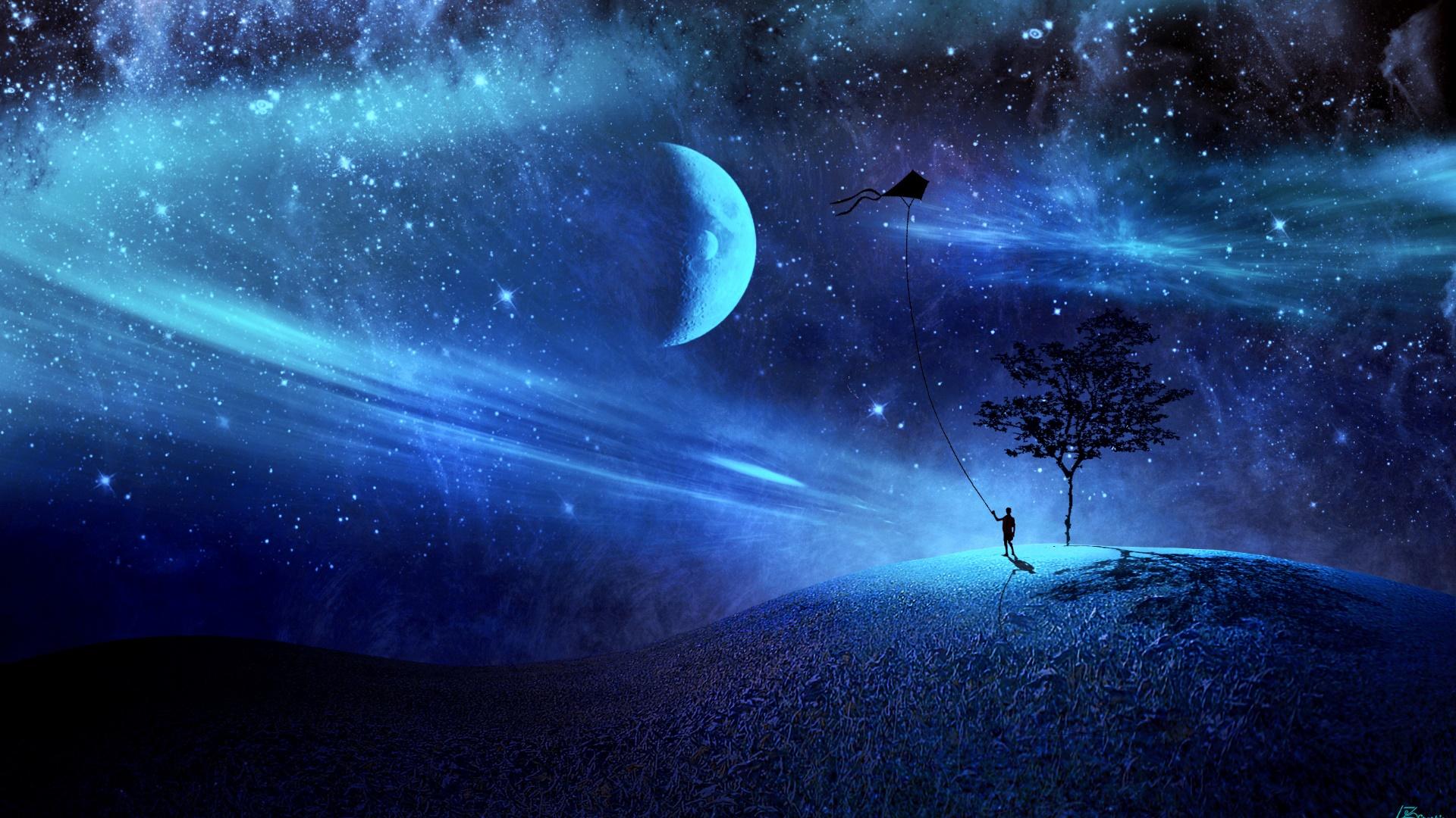 Kite-flying at night - Fantasy art wallpaper