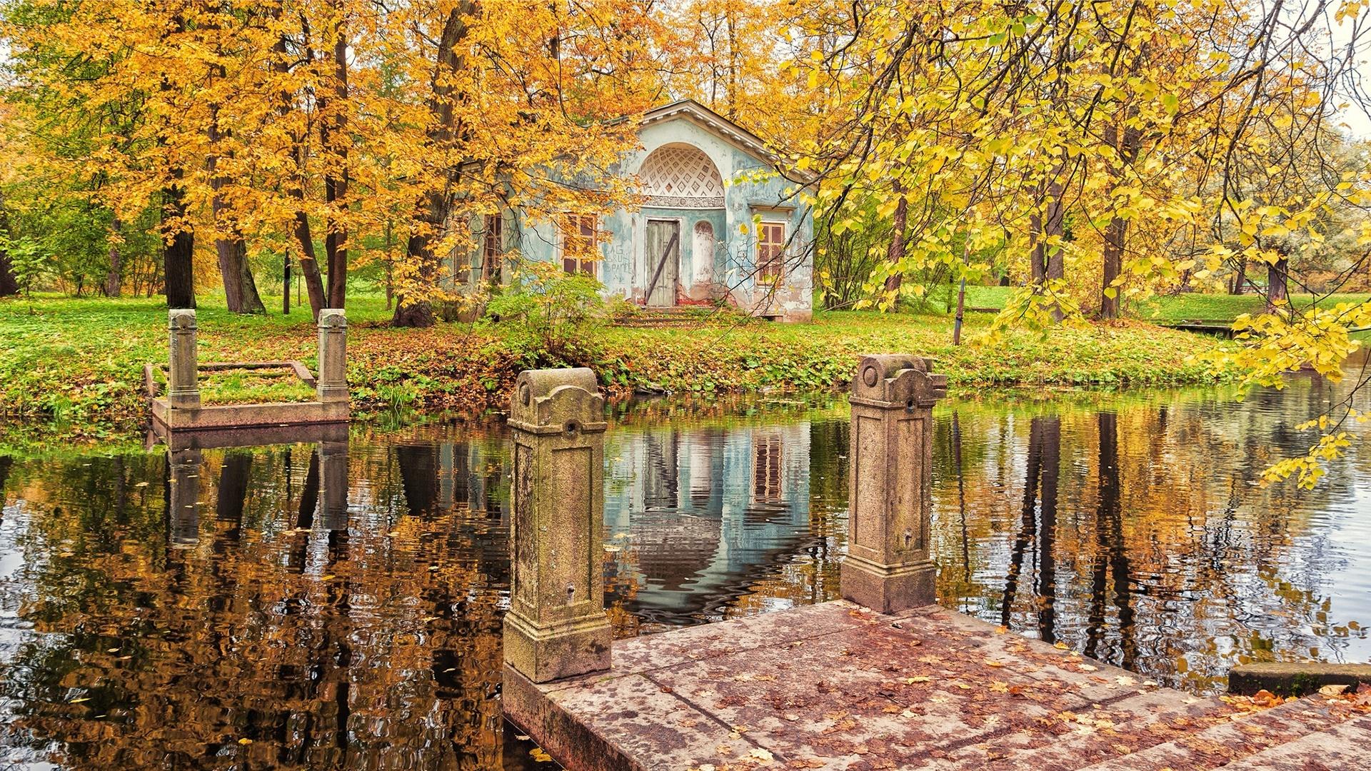 Romantic autumn scenery wallpaper