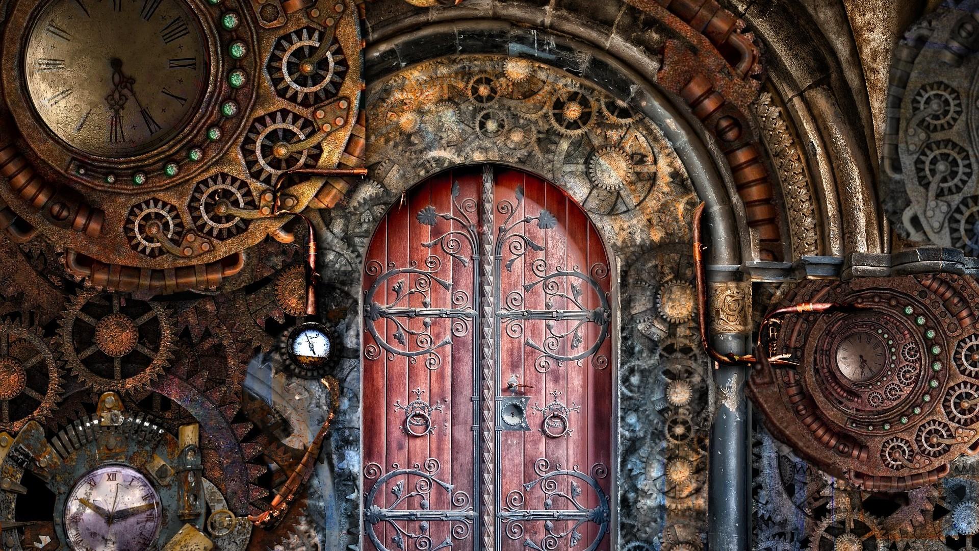 Steampunk fashioned door wallpaper