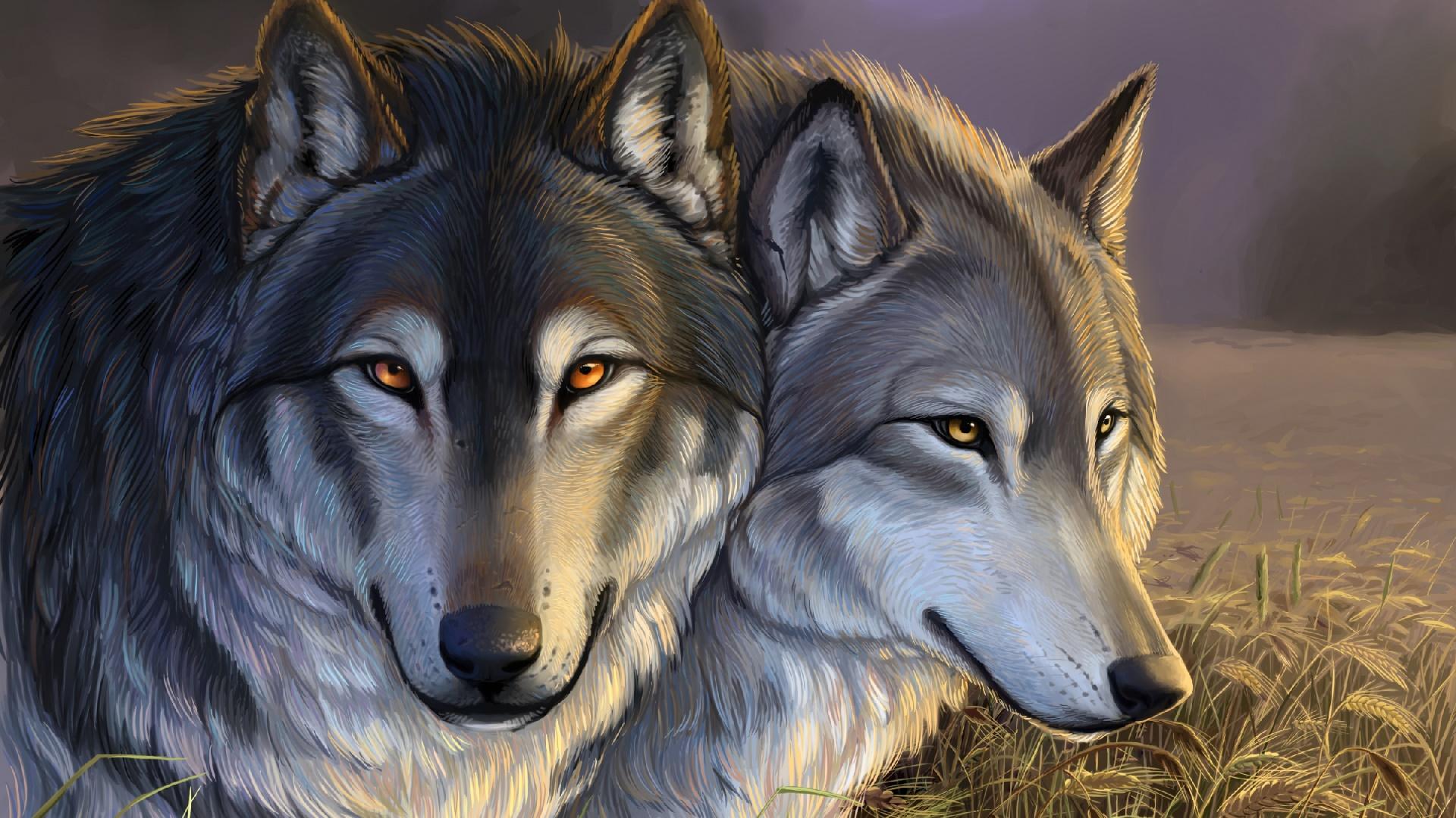 Wolves painting art wallpaper