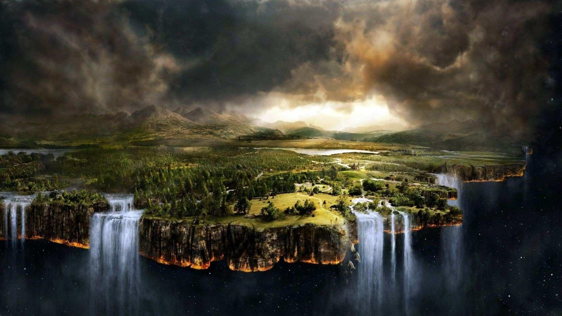Fantasy waterfalls wallpaper