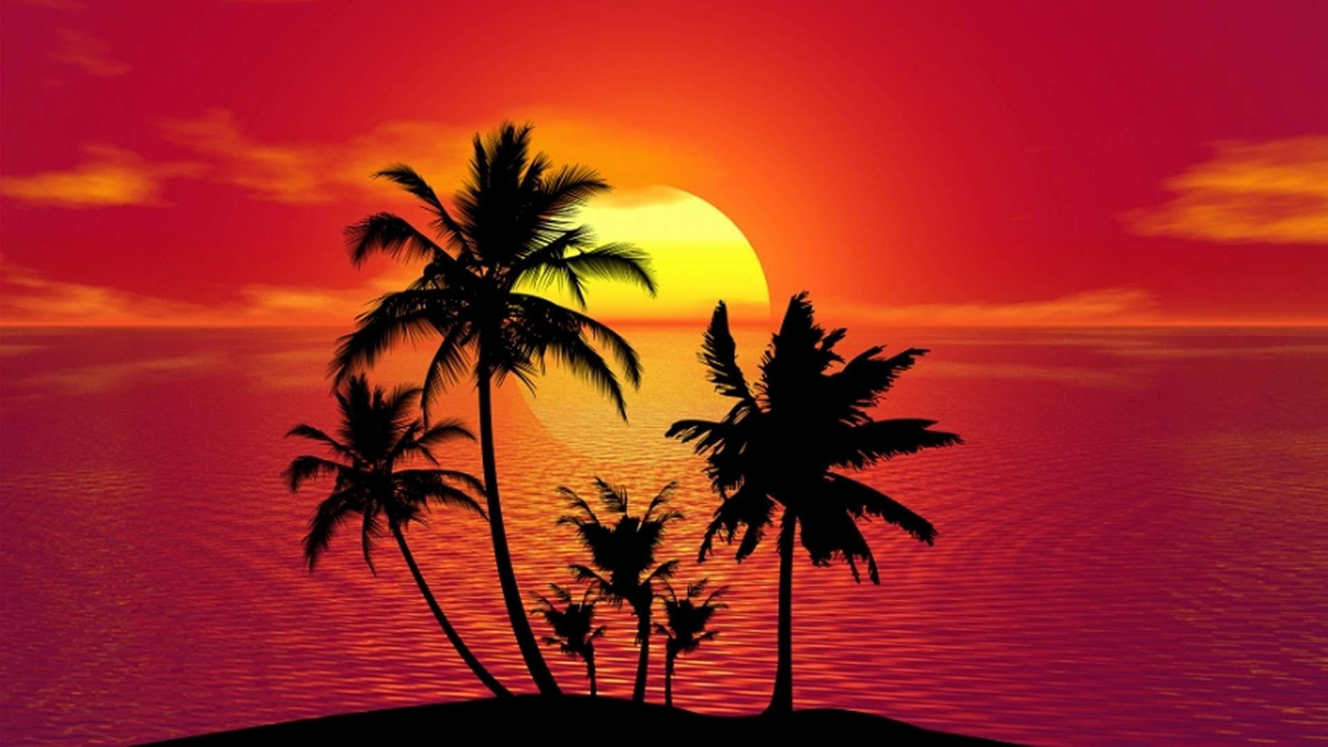 Tropical island silhouette in the sunset wallpaper