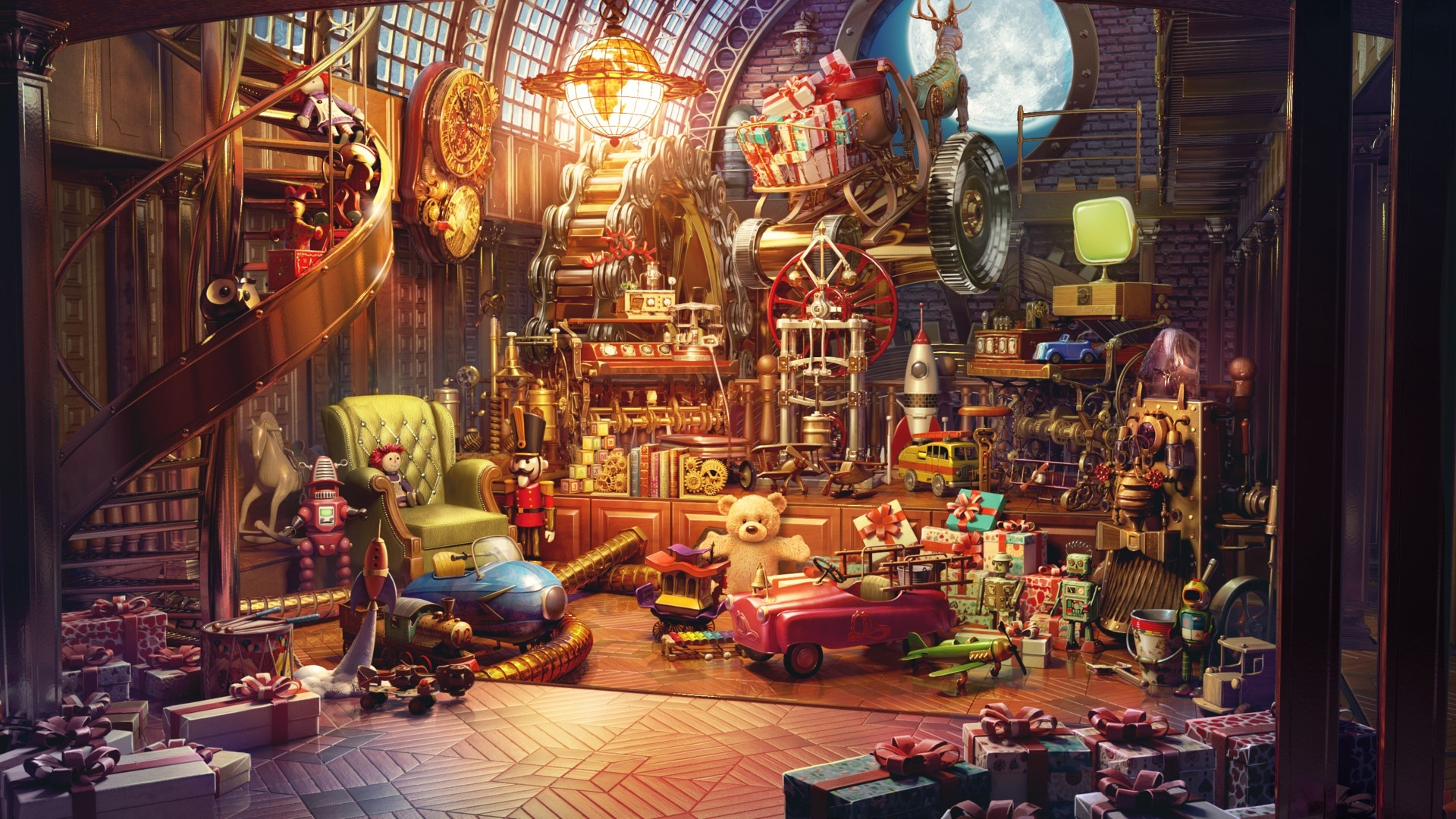 Santa's house with lot of toys wallpaper
