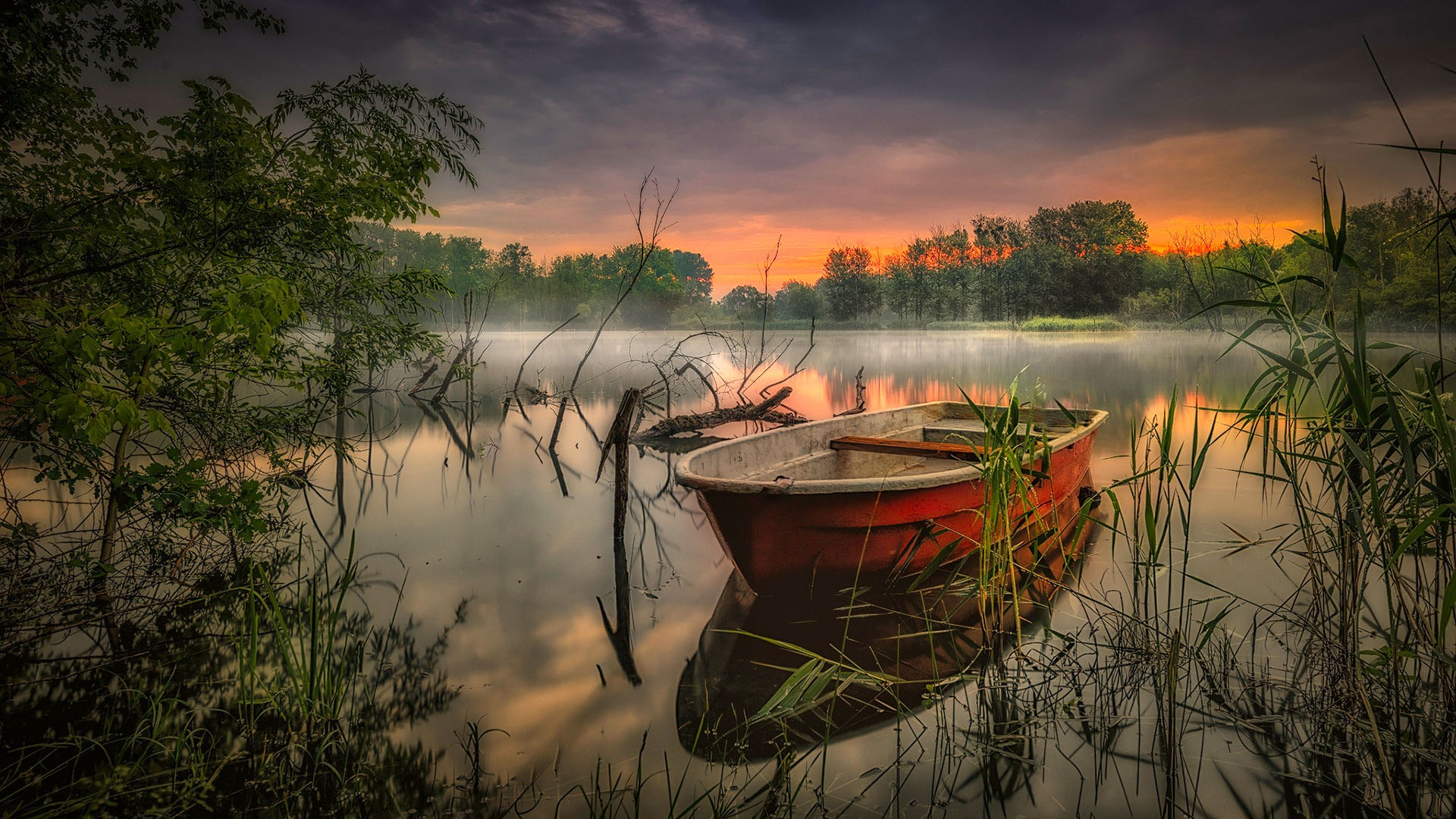 Lake with a boat in Brandenburg wallpaper