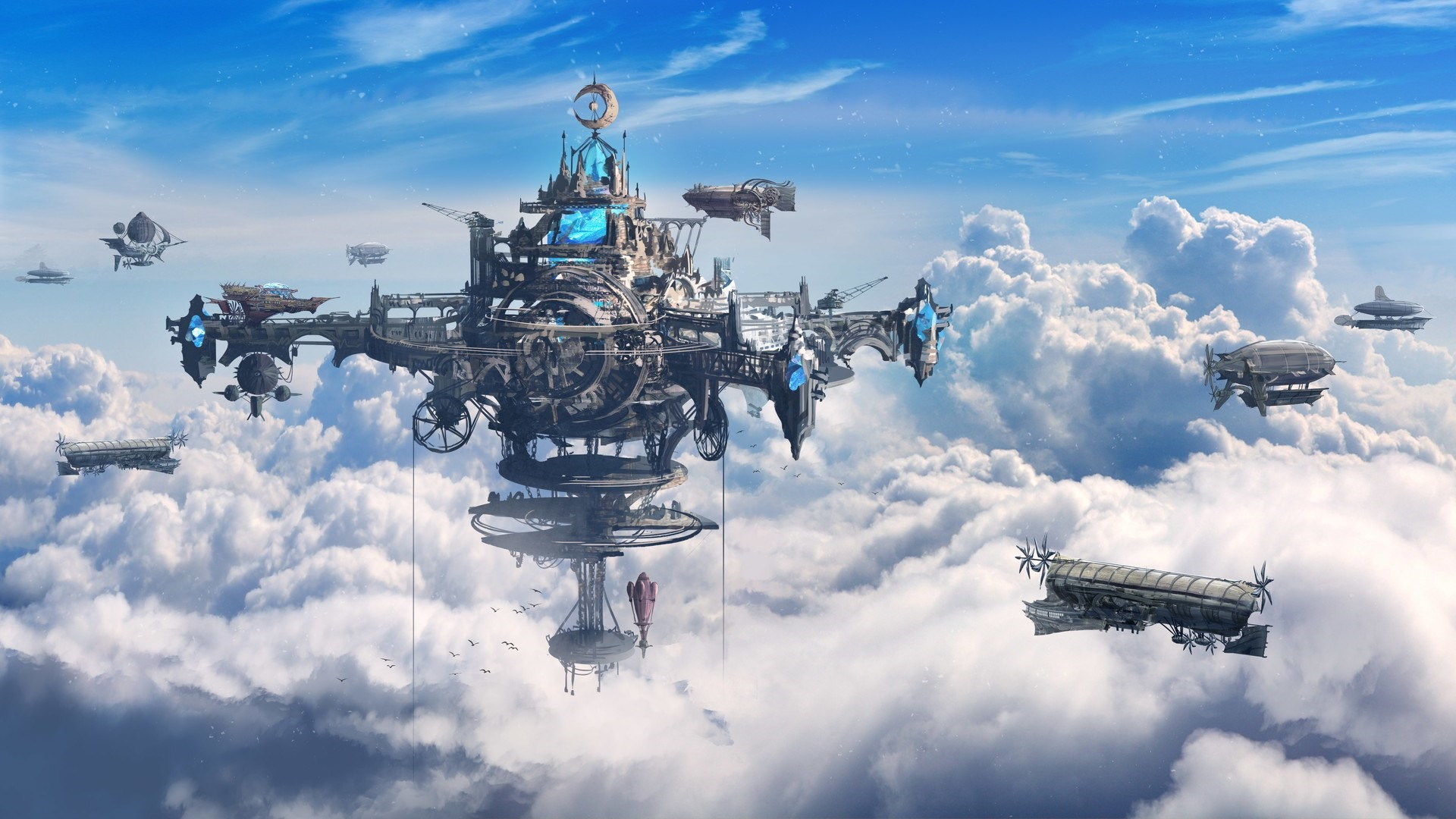 Floating steampunk city in the sky wallpaper