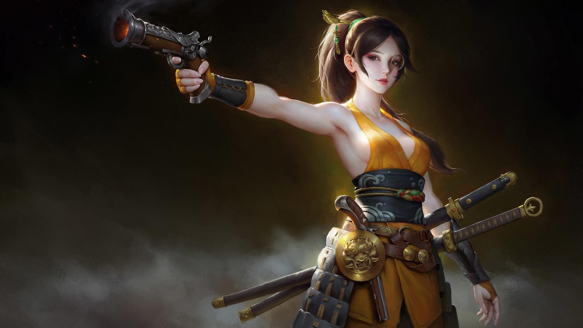 Steampunk gunfighter samurai woman wallpaper