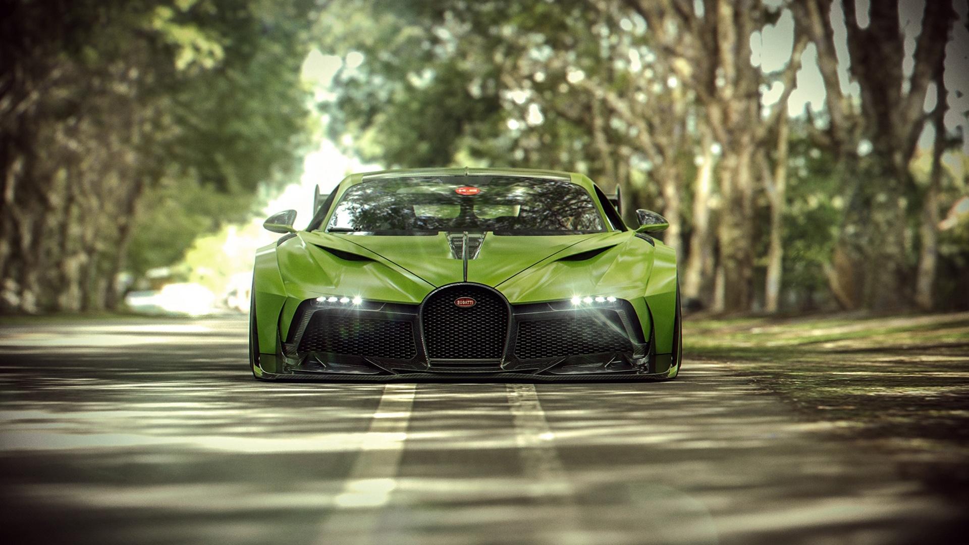 Green Bugatti Divo wallpaper - backiee