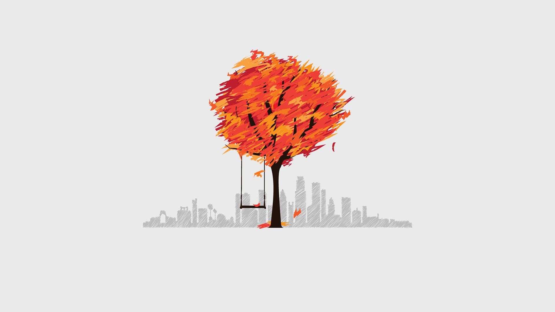 Tree swing minimal art wallpaper