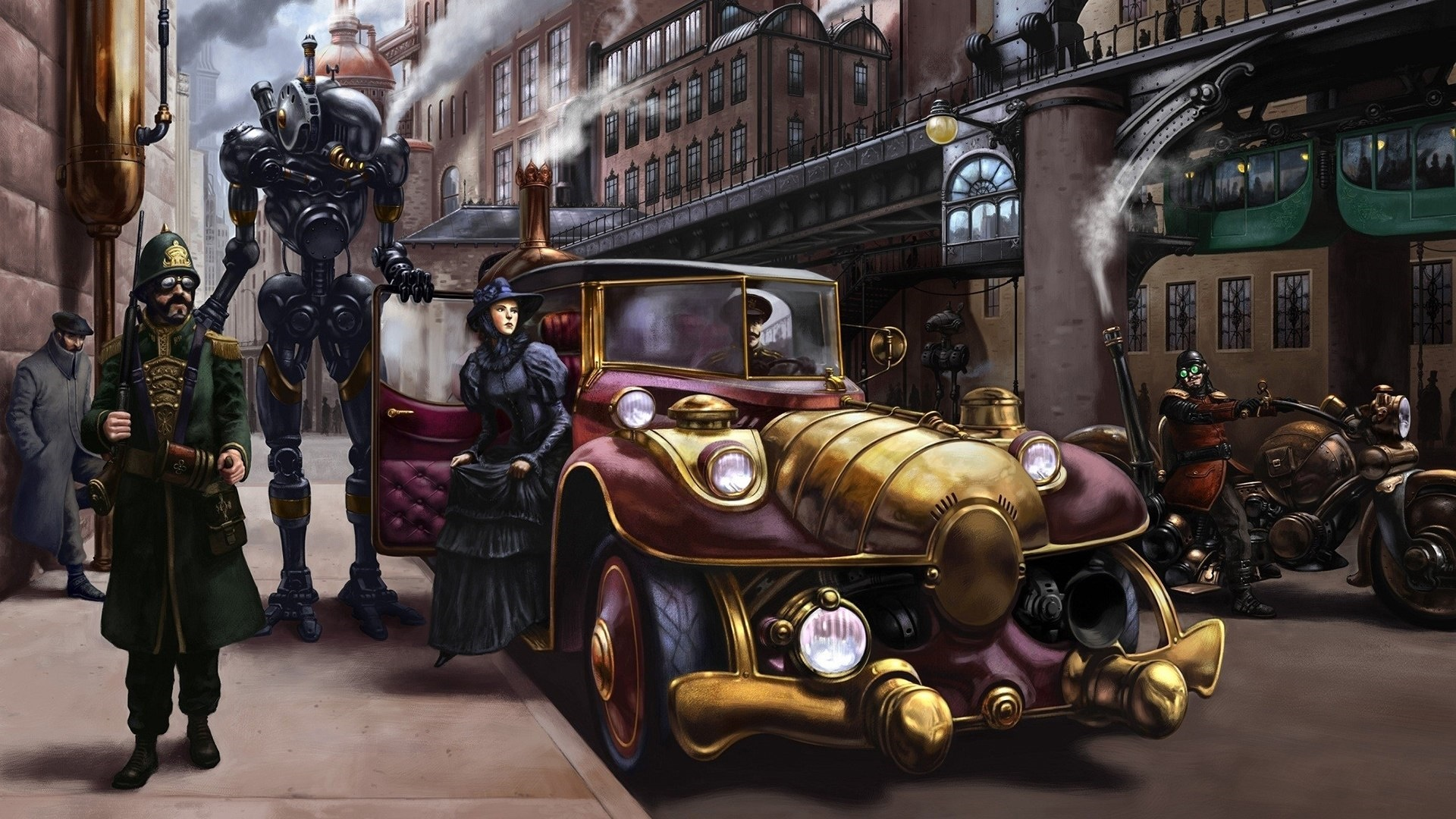 Steampunk city drawing wallpaper