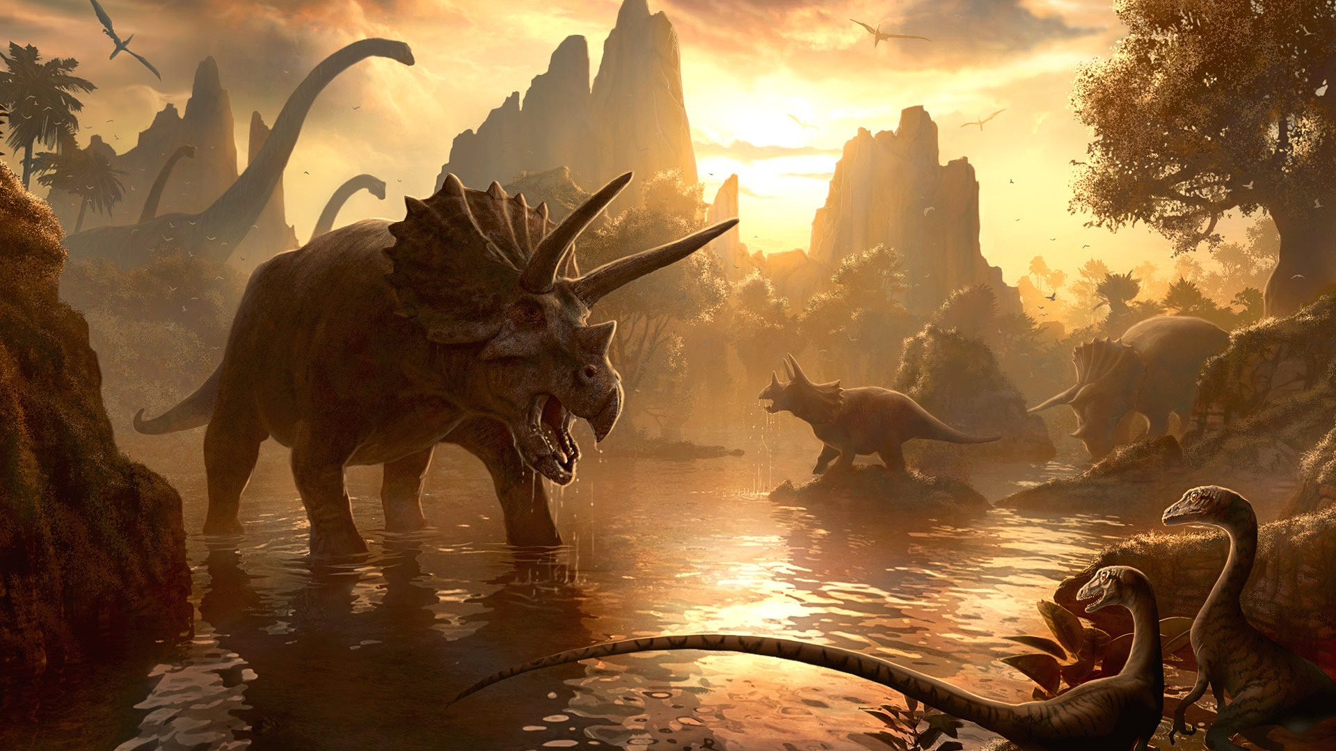 Dinosaurs at the watering hole wallpaper