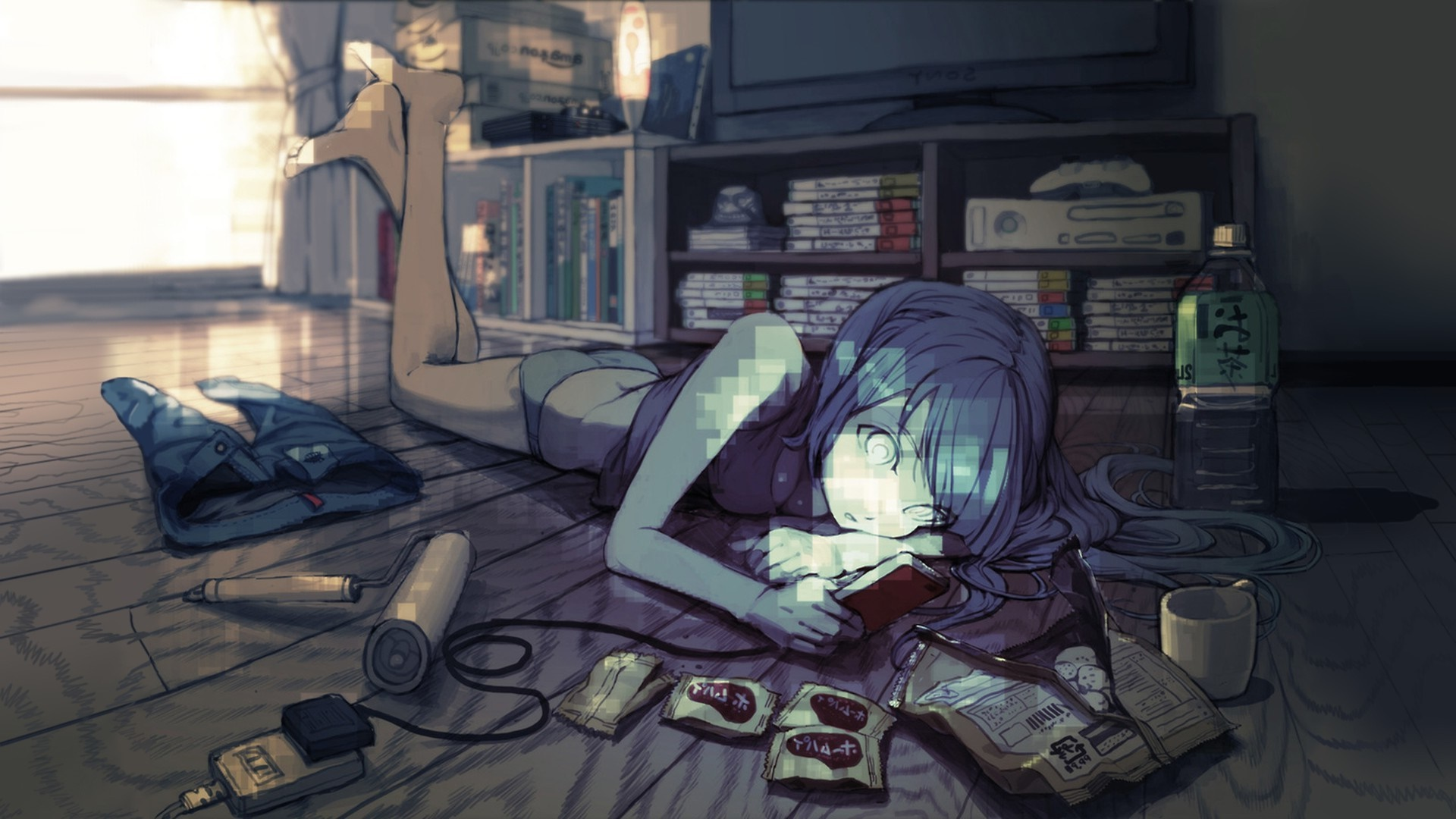 Blue Haired Anime Gamer Girl Hd Wallpaper Backiee Free Ultra Hd