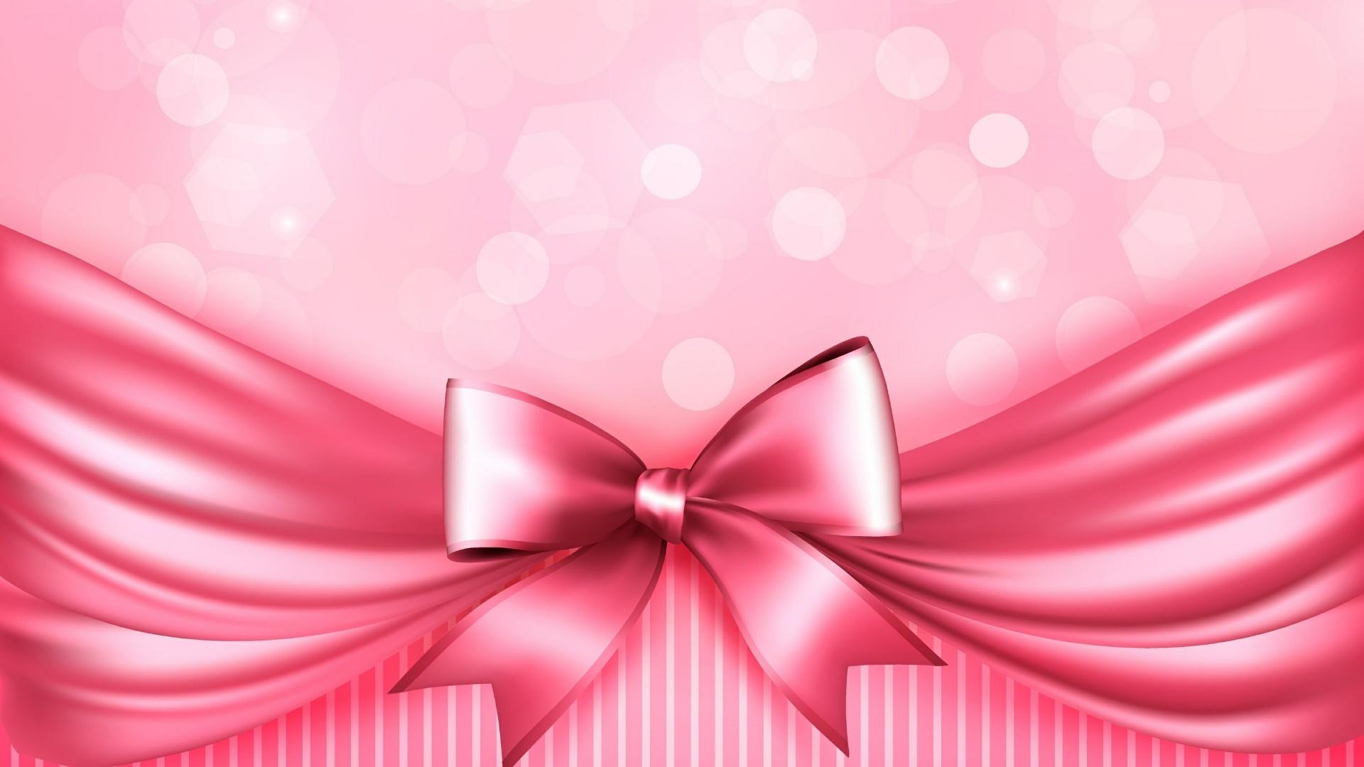 Pink ribbon bow wallpaper