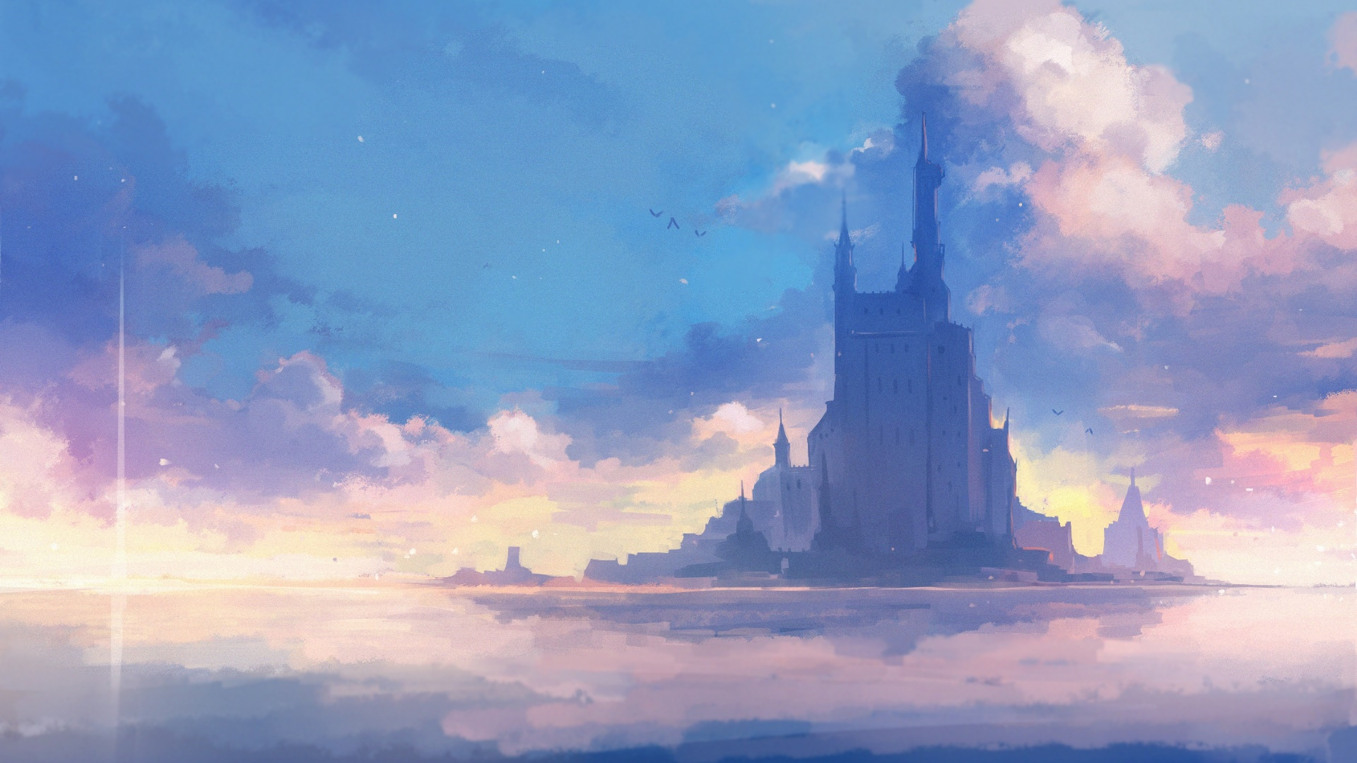 Floating fantasy castle on the middle of the sea wallpaper