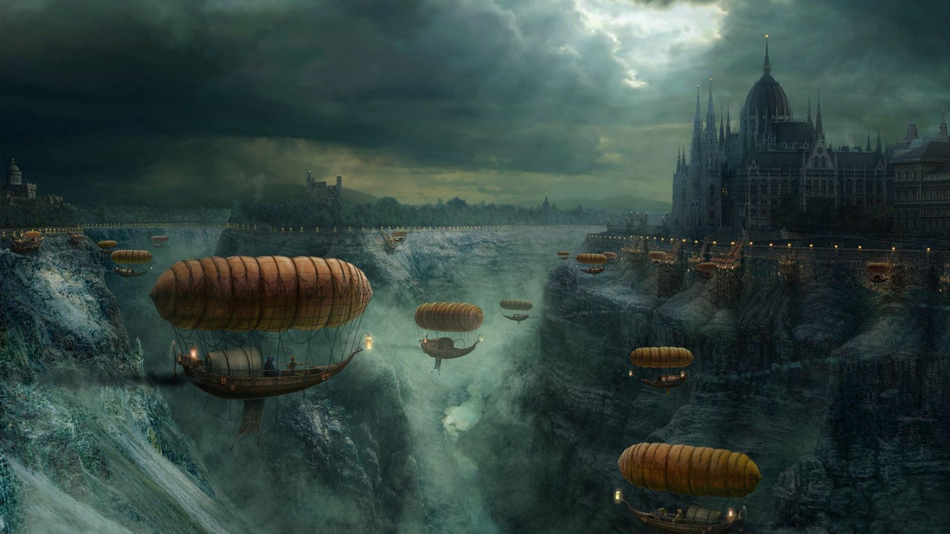 Steampunk fantasy world with airships wallpaper