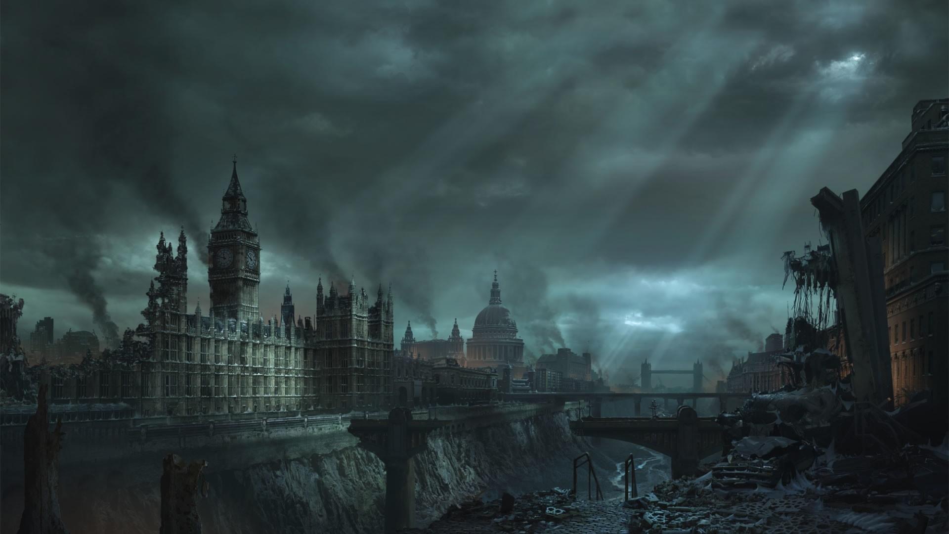 Apocaliptic London cityscape wallpaper