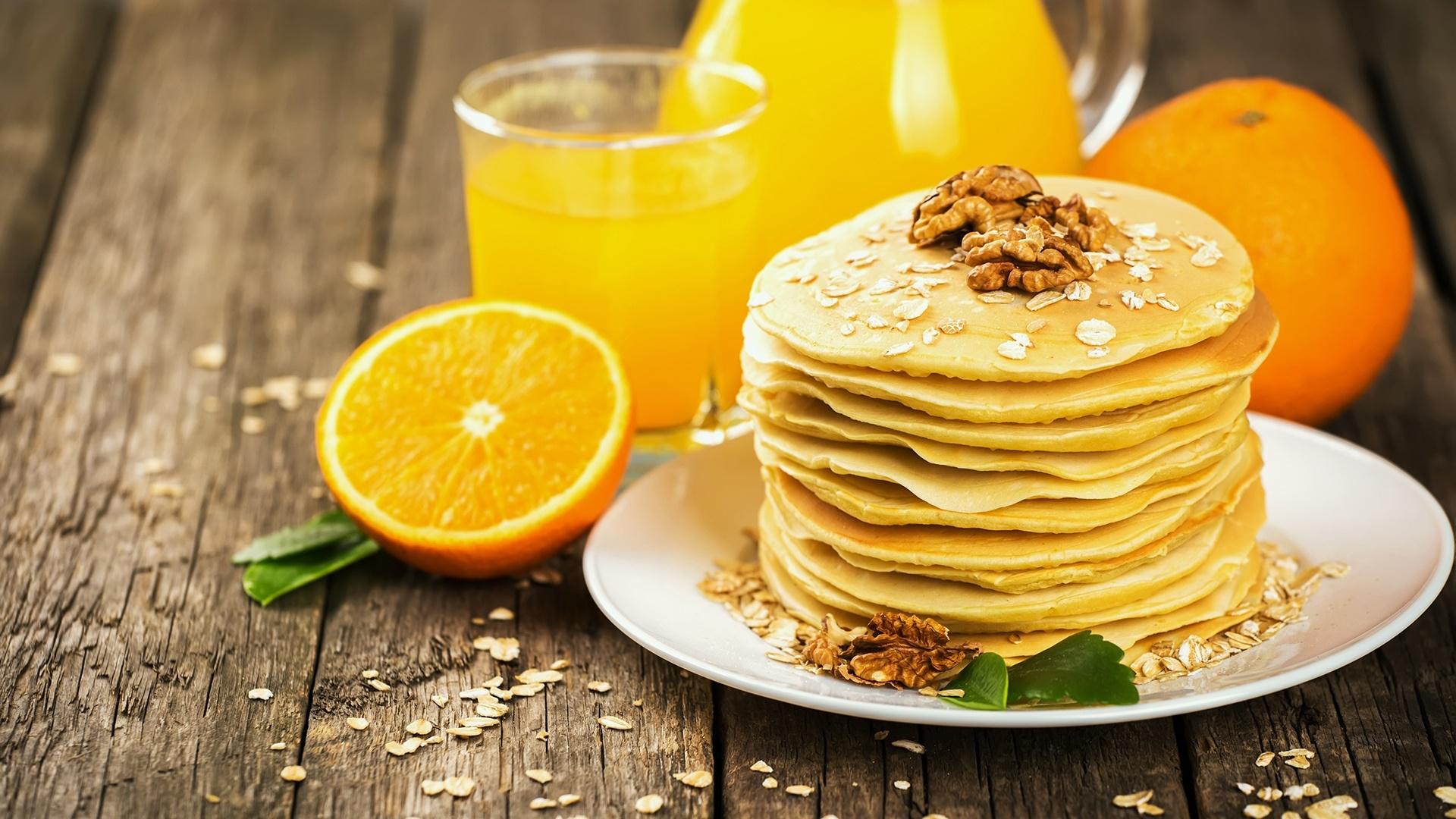 American pancakes with orange juice wallpaper