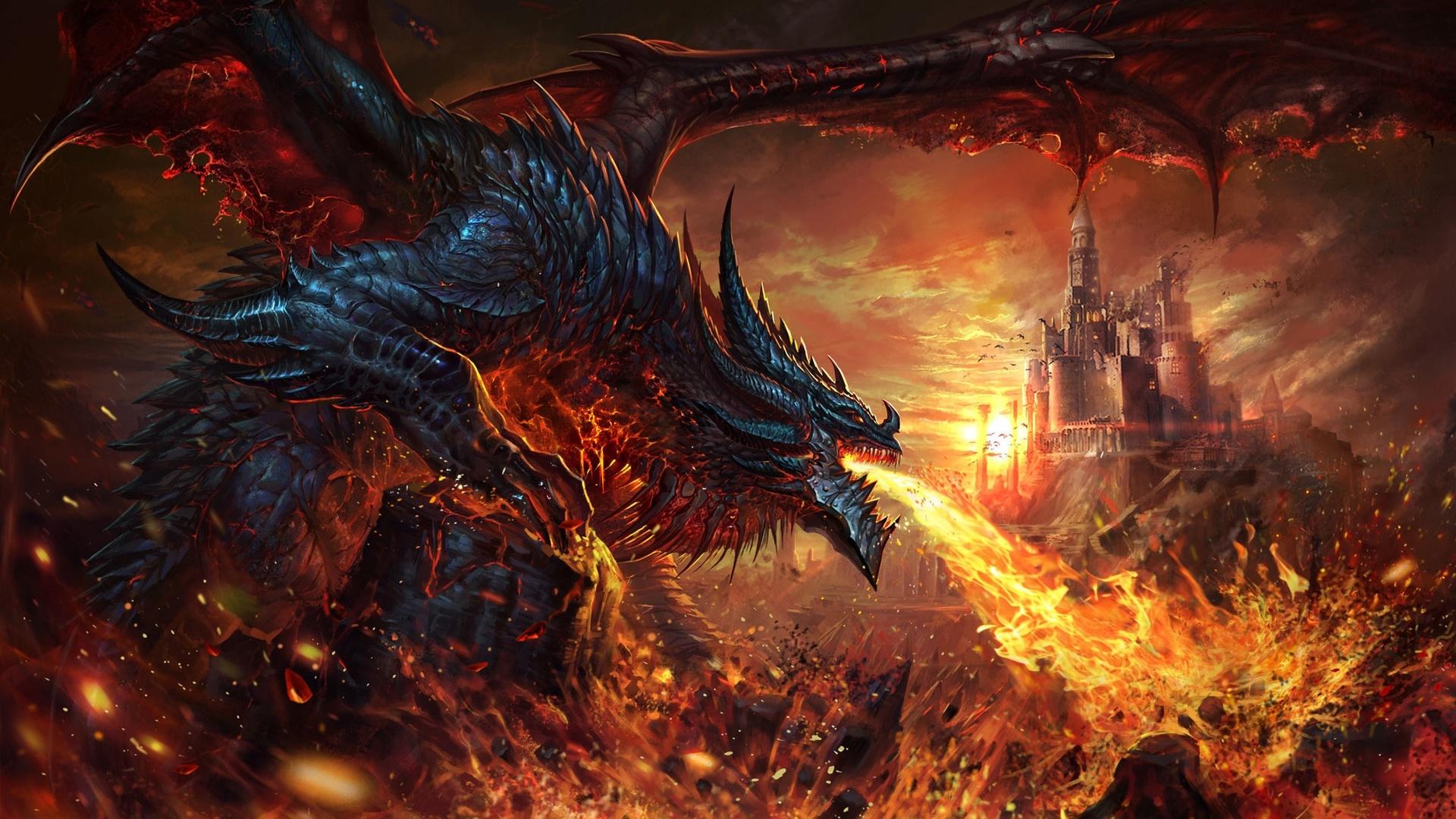 Fire breath dragon wallpaper