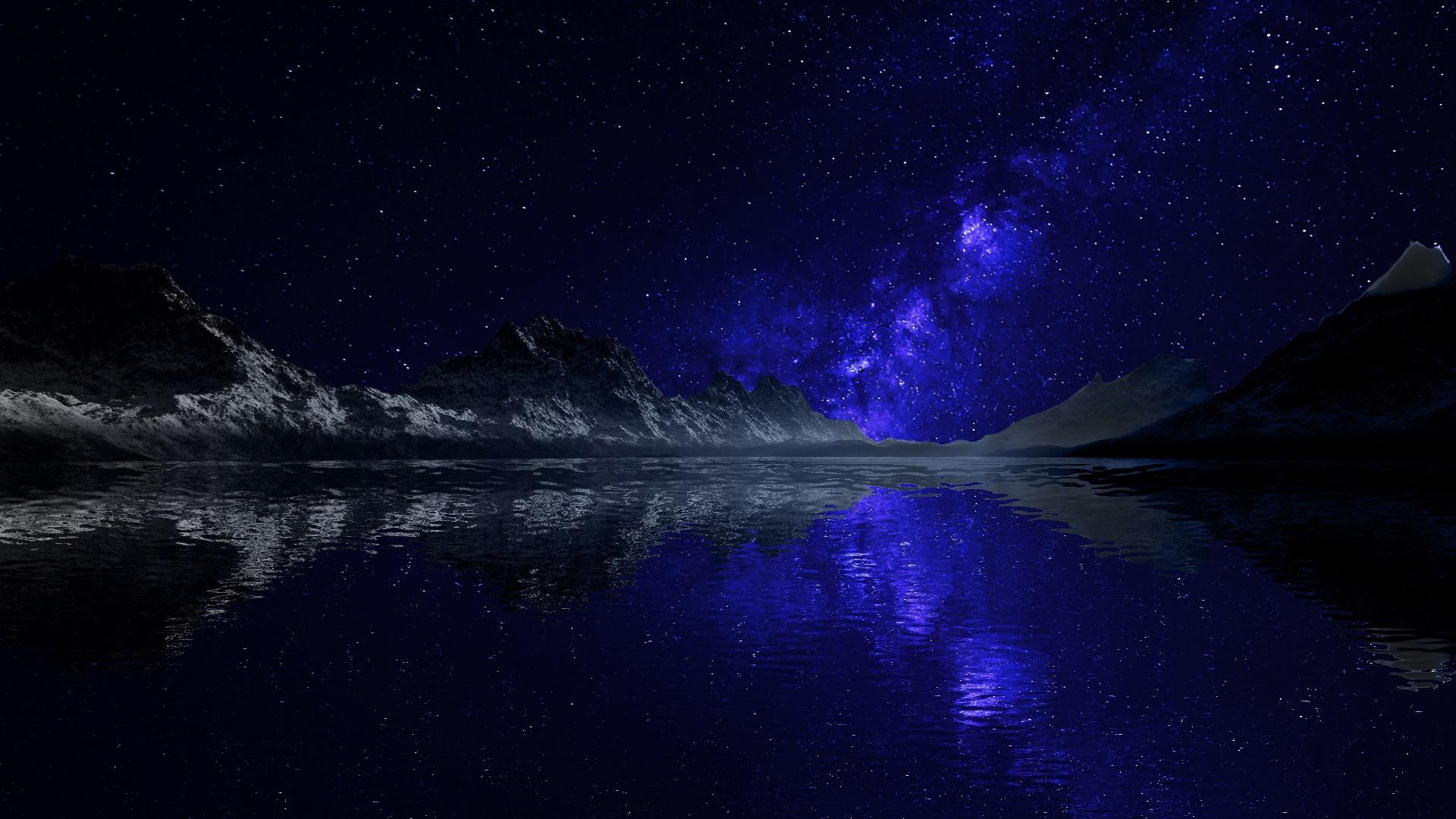 Blue Milky Way reflected wallpaper