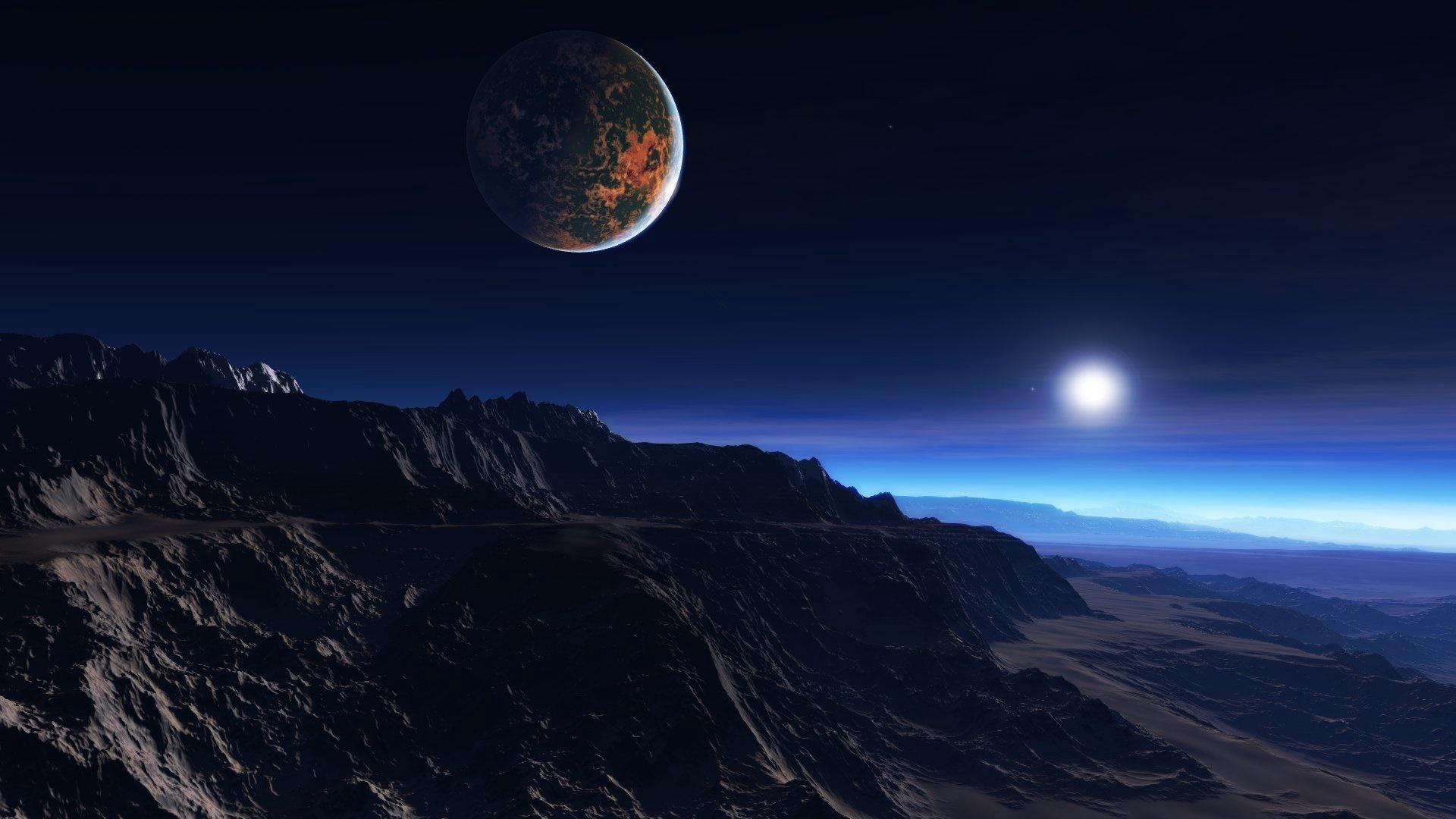 Alien planet scifi art wallpaper