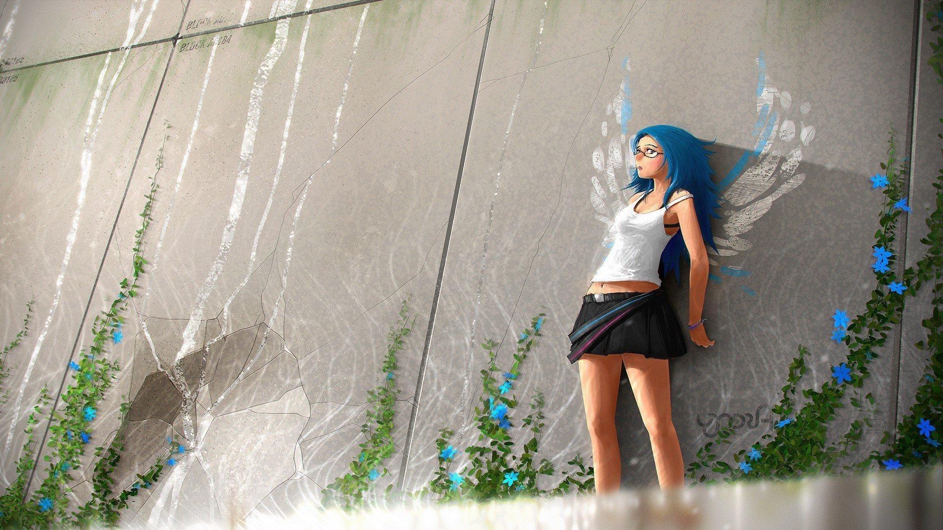 Kawaii nerdy girl wallpaper