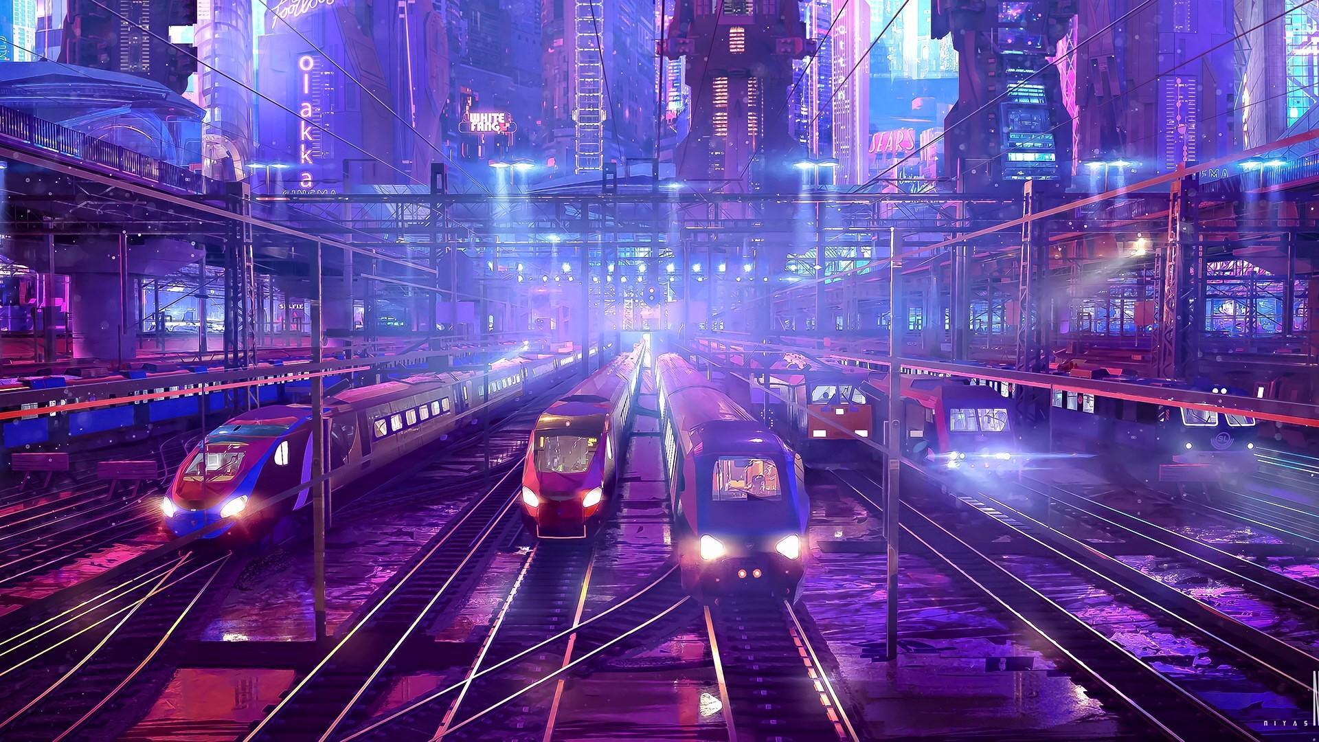 Fantasy train station wallpaper