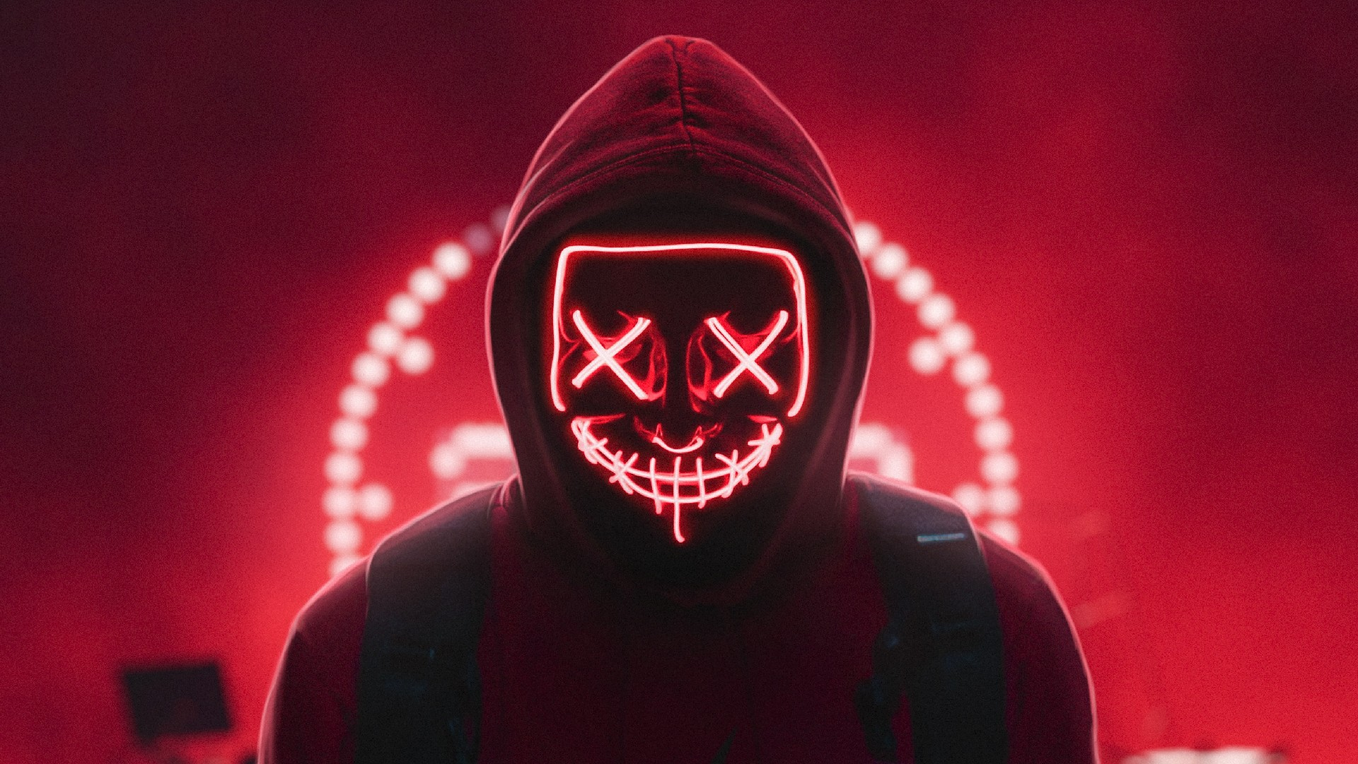 neon red mask wallpaper