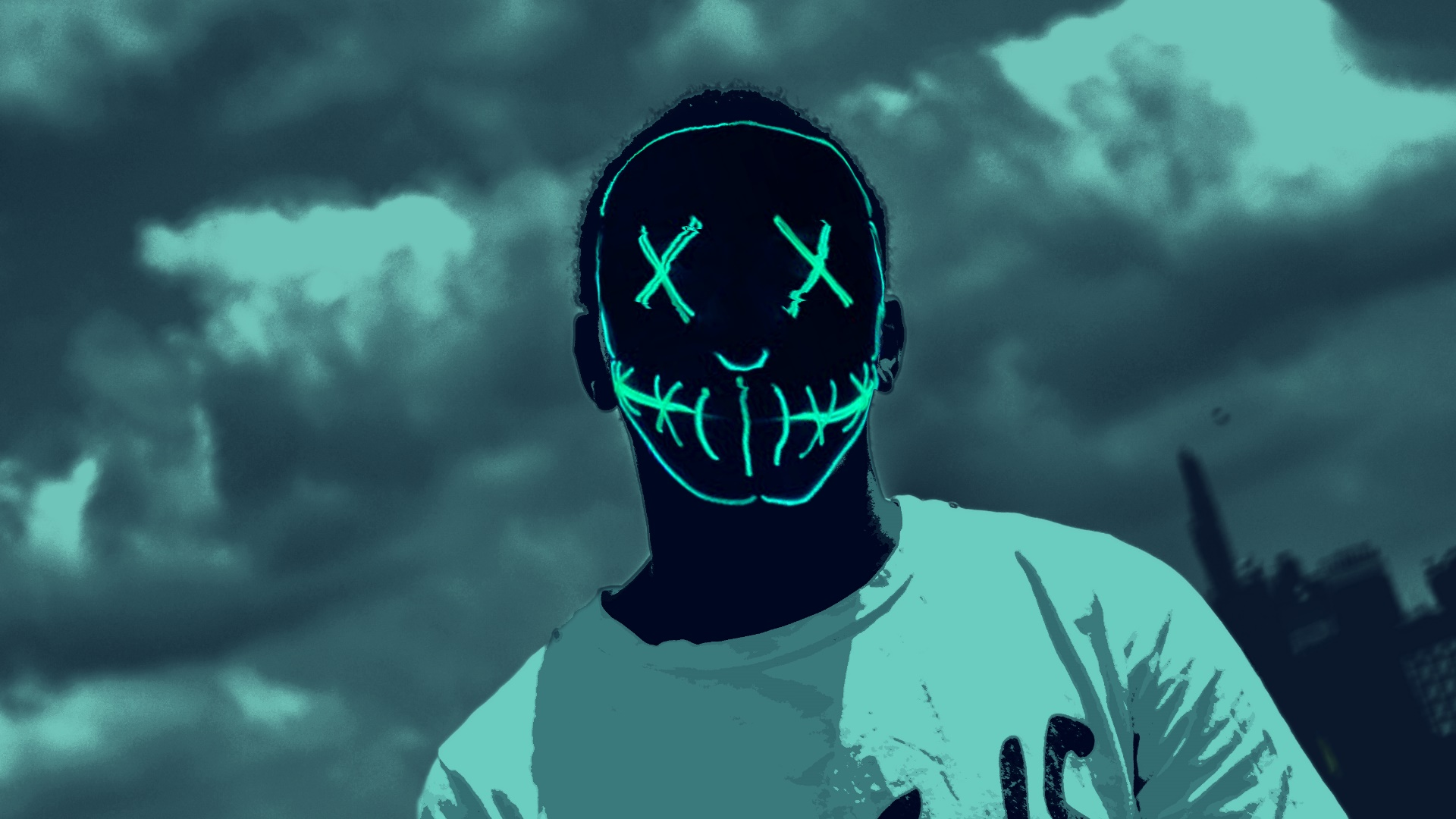 Cyan Neon Mask wallpaper