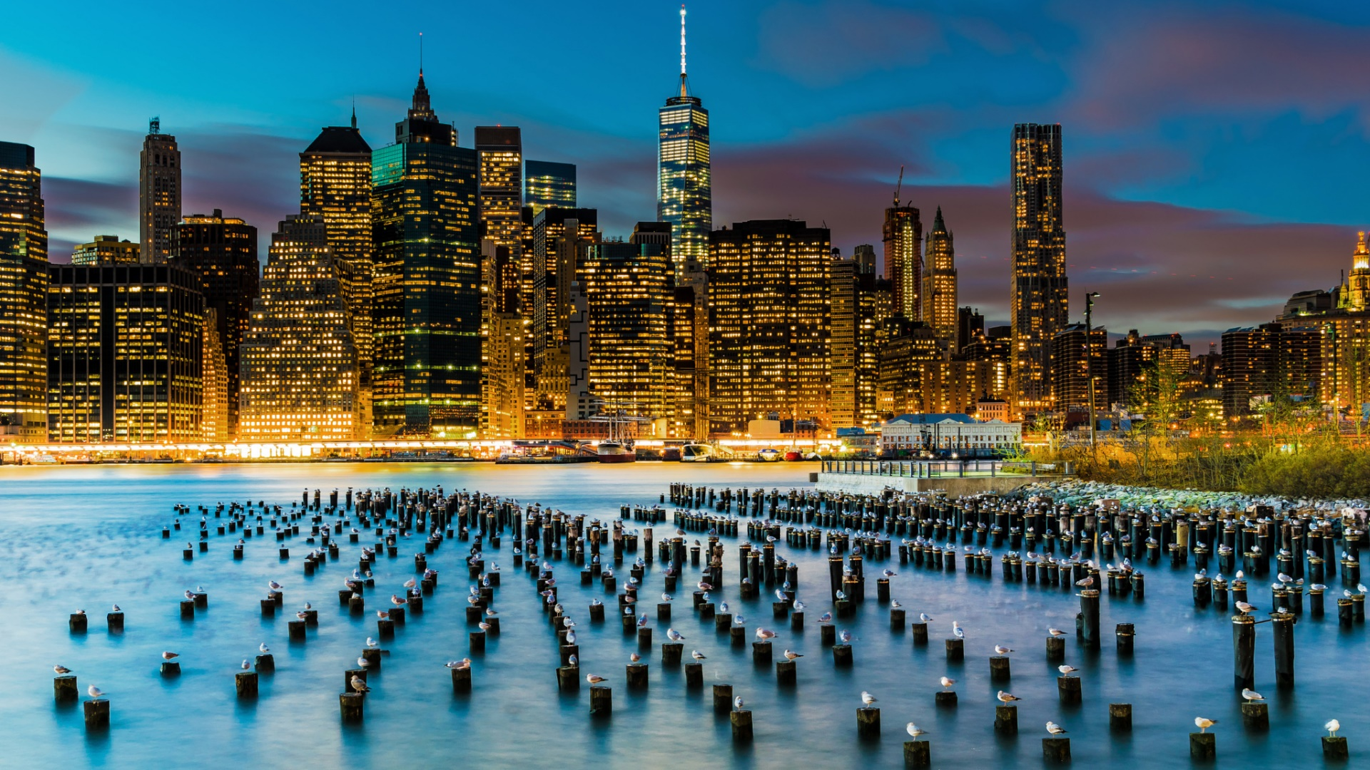Manhattan from Harbor View Lawn wallpaper