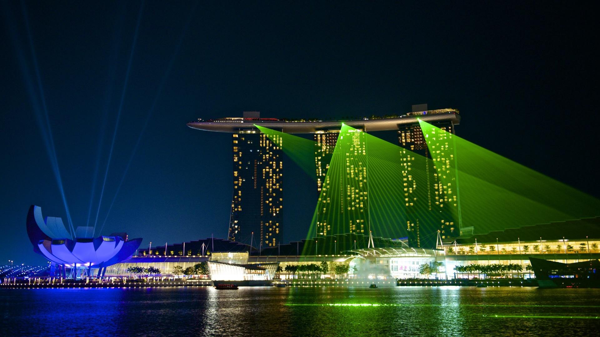Marina Bay Sands night lights wallpaper