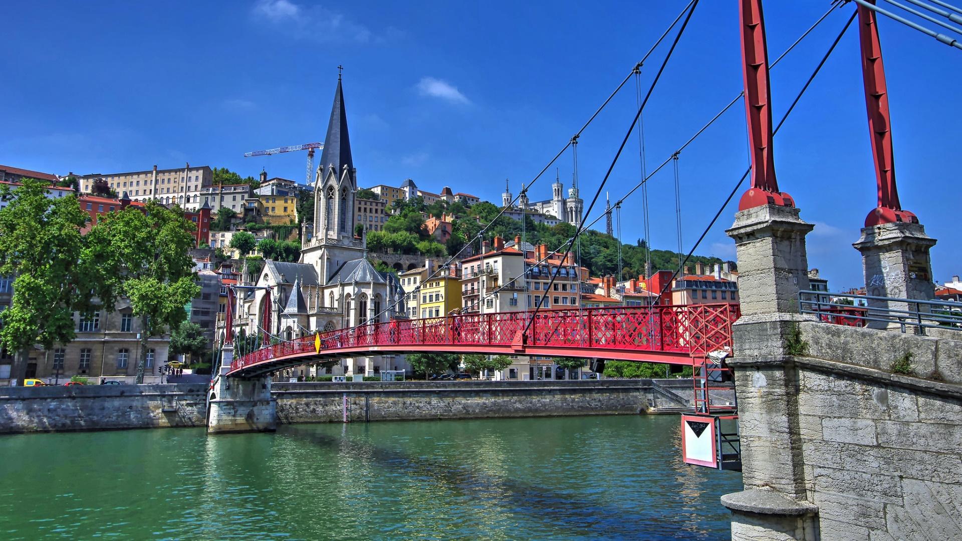 Saint George Bridge and Church of Lyon wallpaper