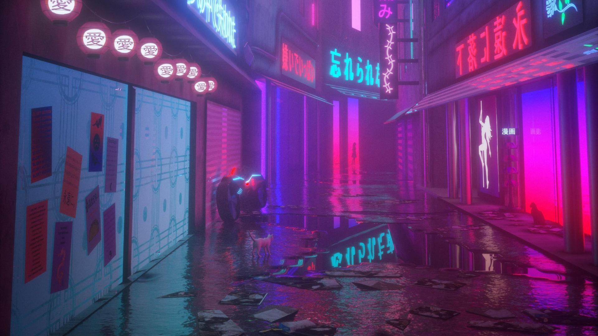 Cyberpunk game city wallpaper