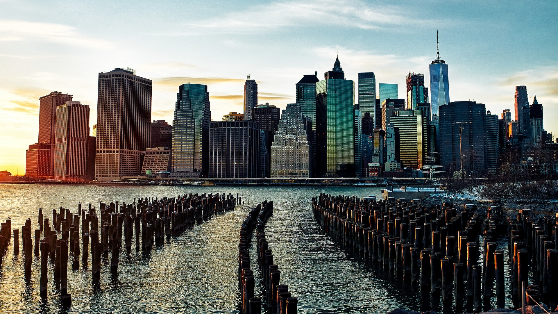 Stumps of the Brooklyn Bridge Park wallpaper